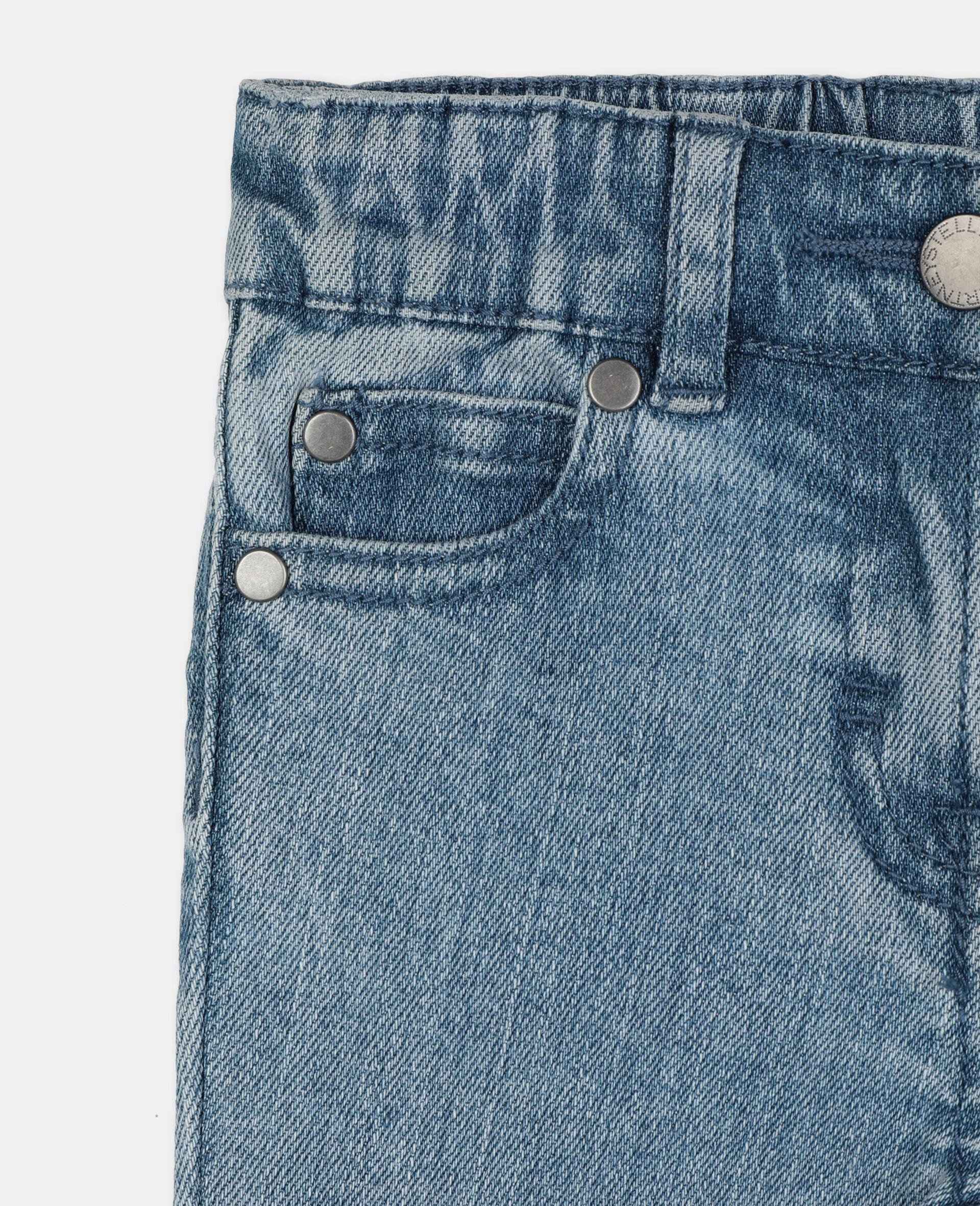 Pantalon en denim slim à motif papillon-Bleu-large image number 1