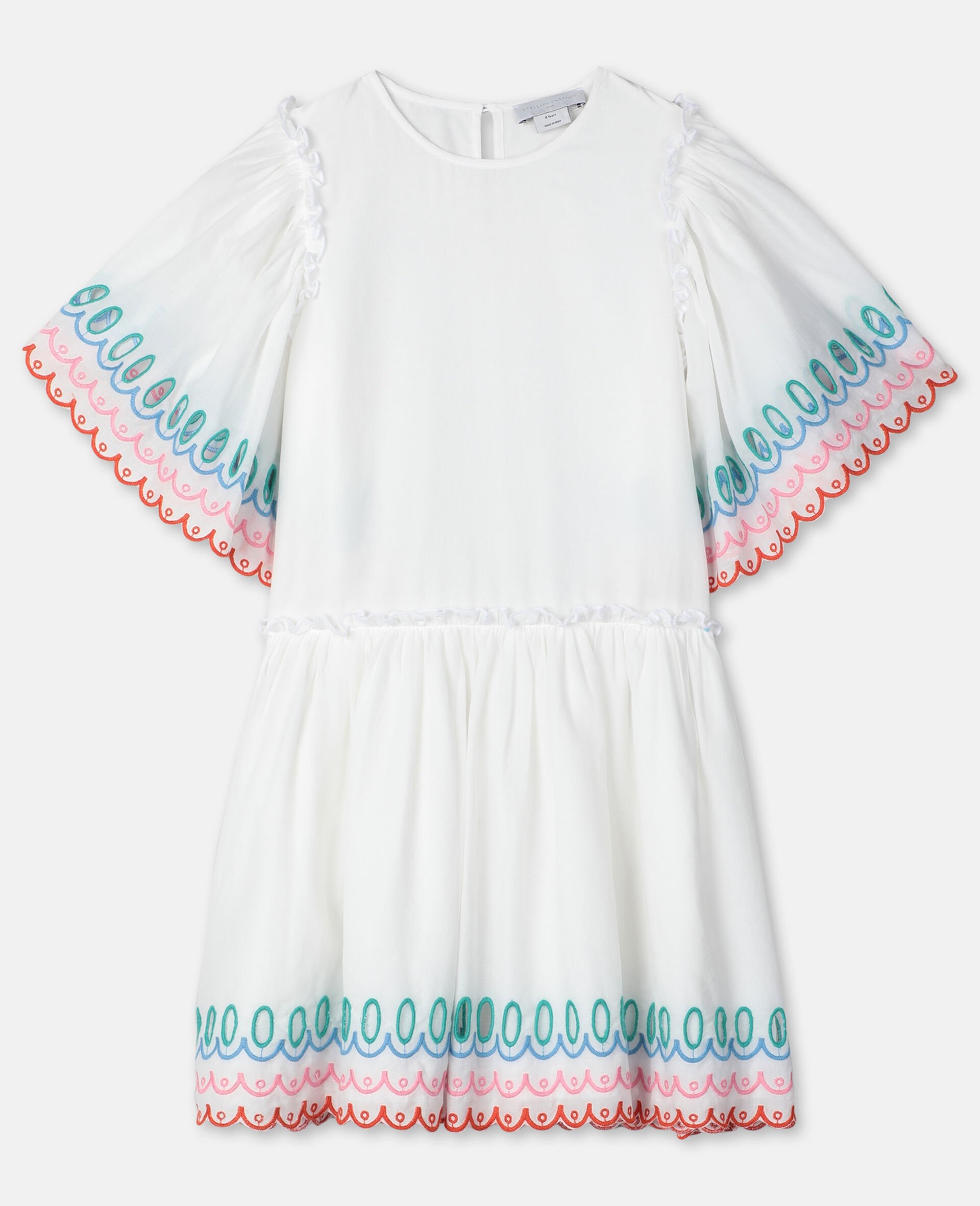 Scalloped Cotton Dress-White-large image number 0