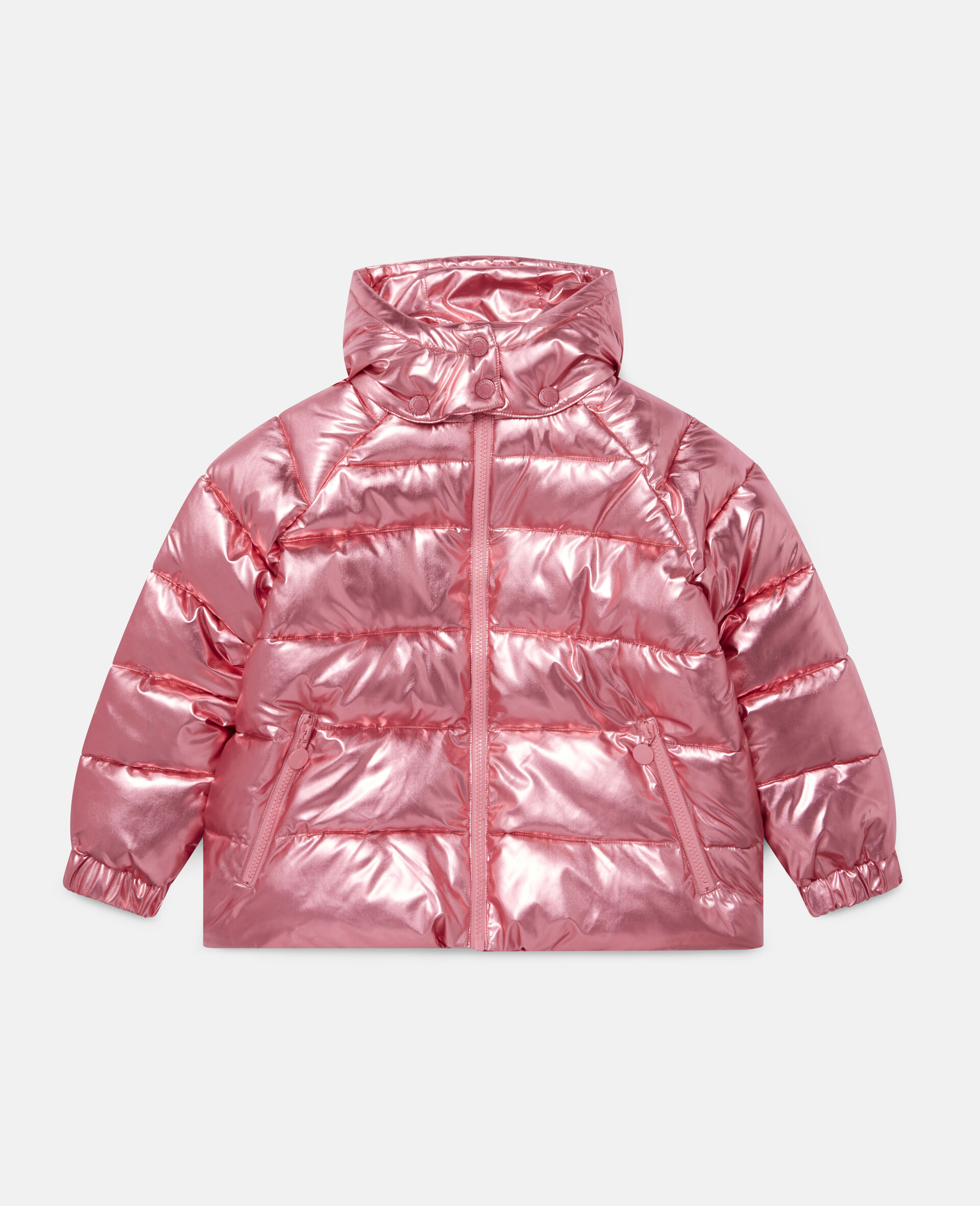 Foiled Hooded Puffer Jacket -Red-large image number 0