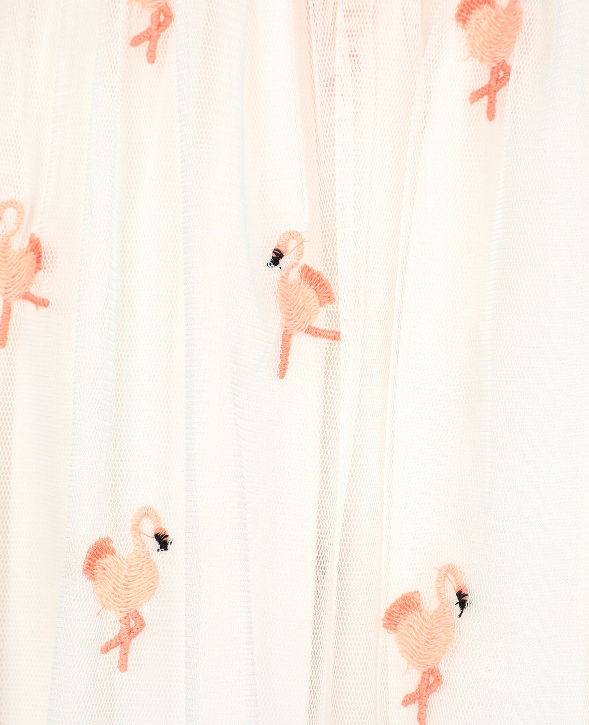 Robe en tulle avec flamants roses brodés-Blanc-large image number 2