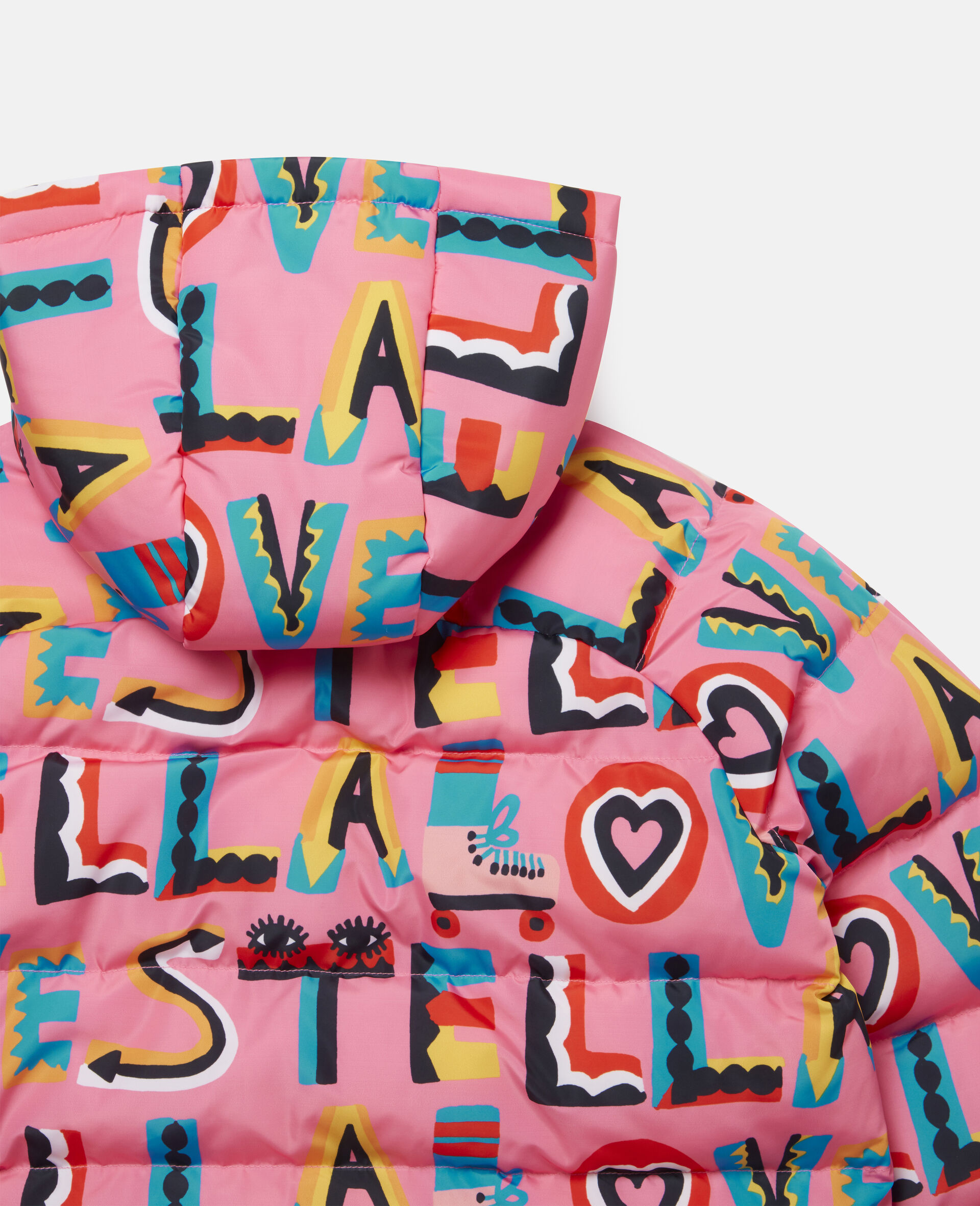 Stella Loves Hooded Puffer Jacket -Pink-large image number 2