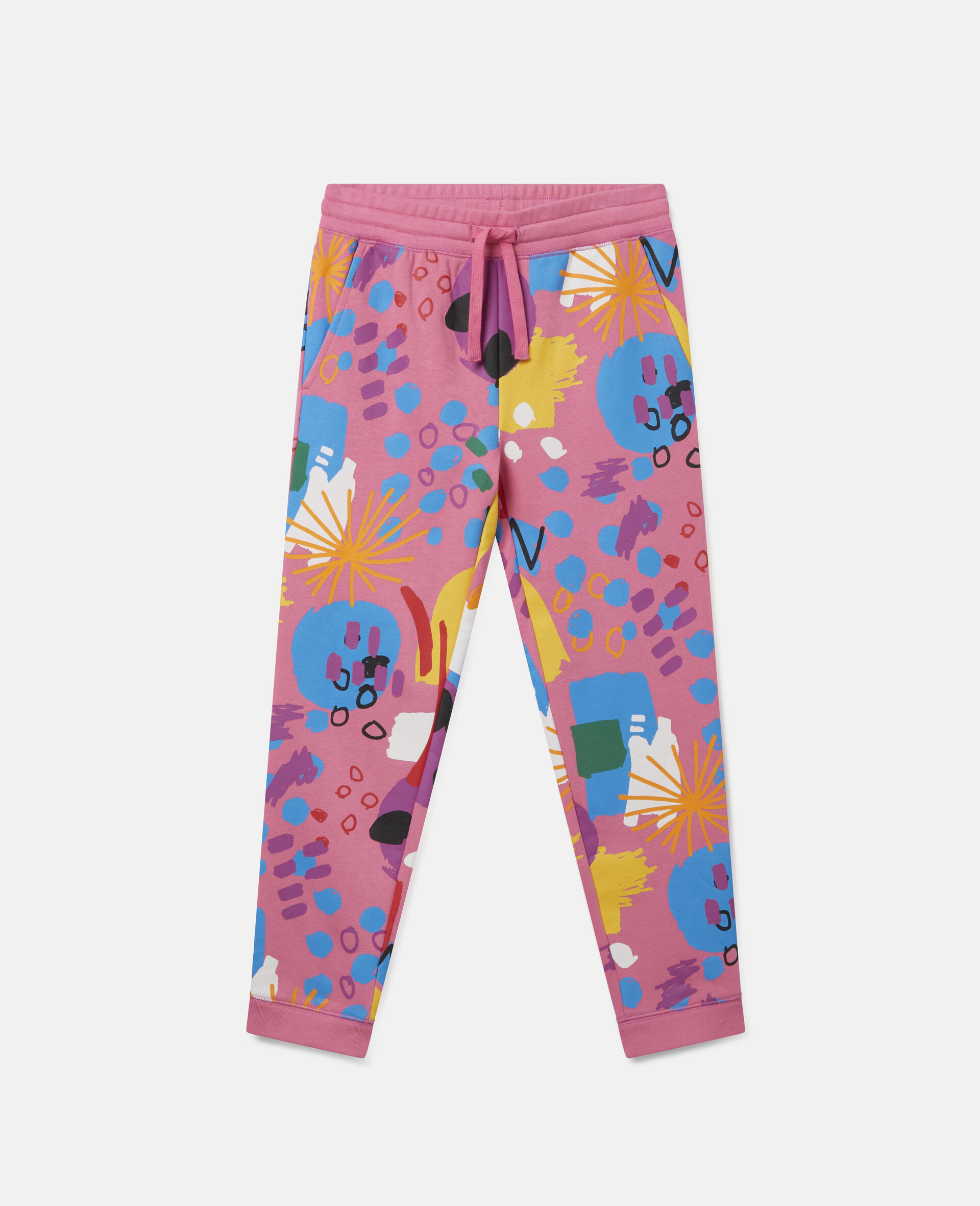 Painting Cotton Fleece Joggers-Pink-large image number 0