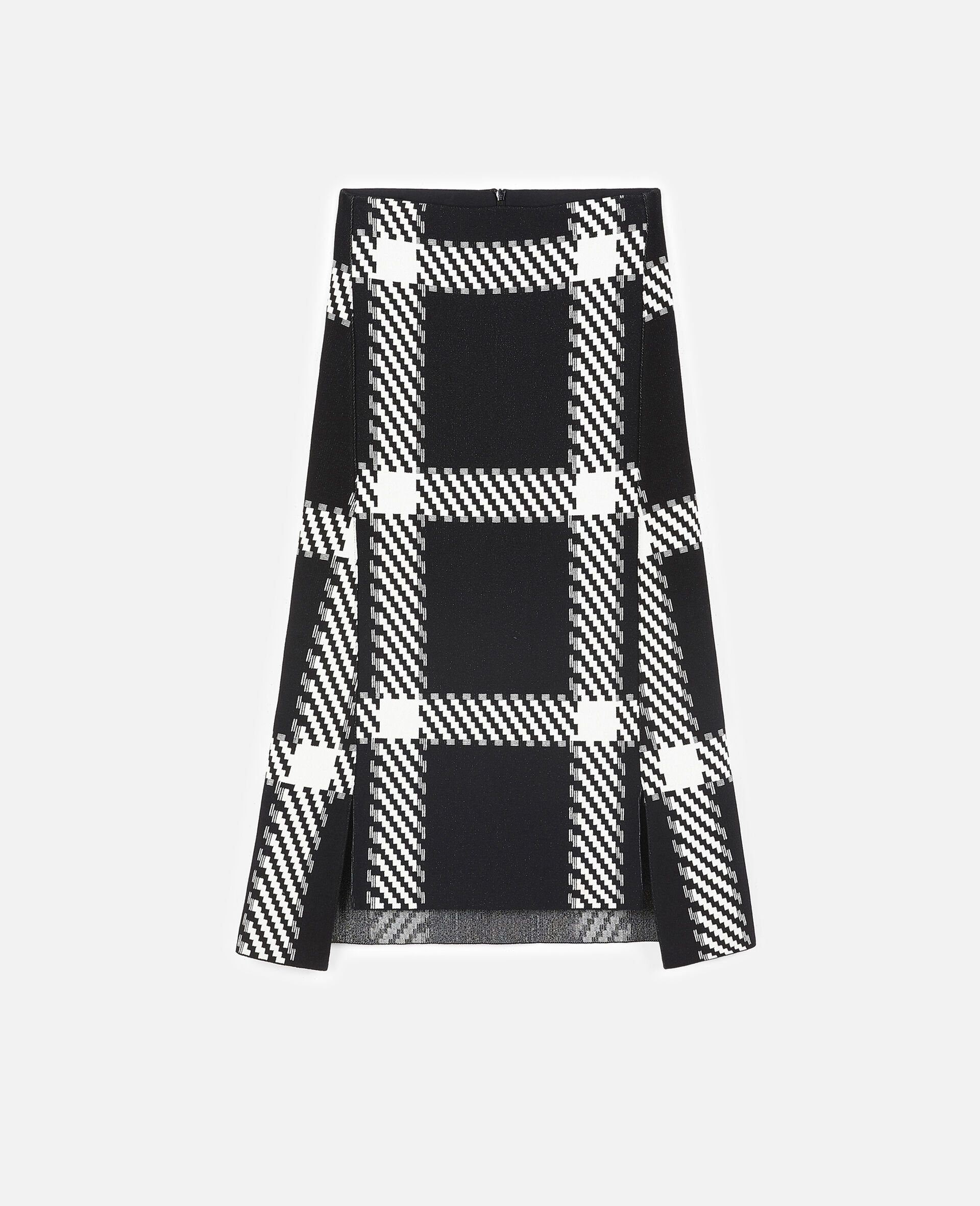 Knit Check Skirt-Multicolour-large image number 0