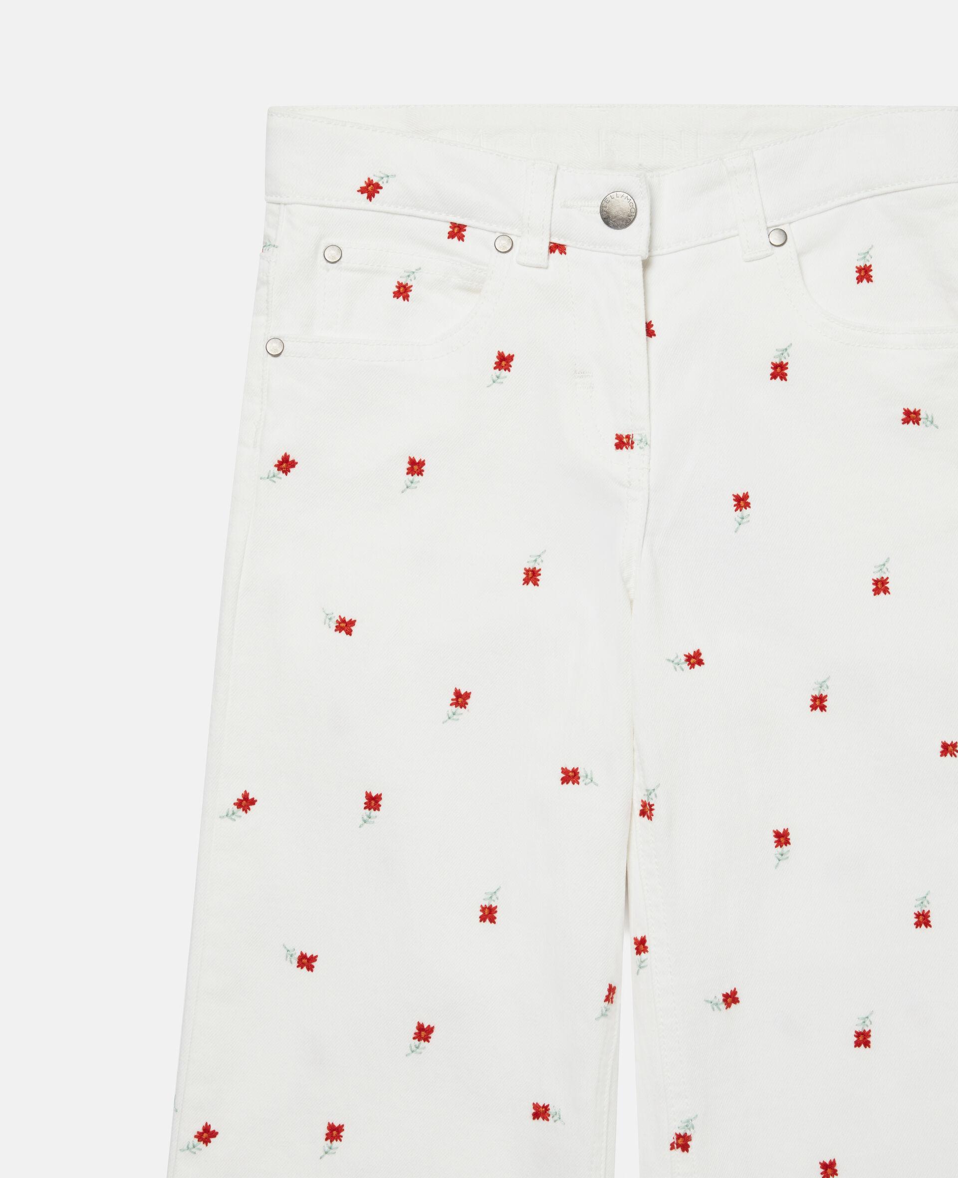 Jeans in Denim con Fiori Ricamati-Bianco-large image number 1