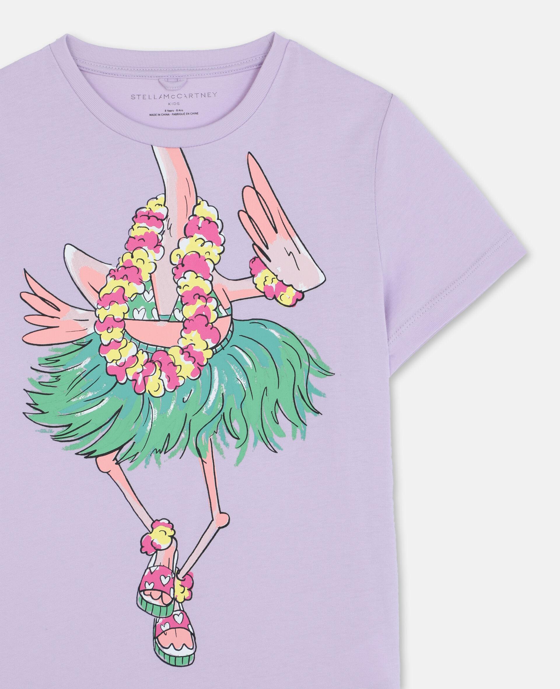 T-shirt en coton à flamant rose en trompe-l'œil-Rose-large image number 1