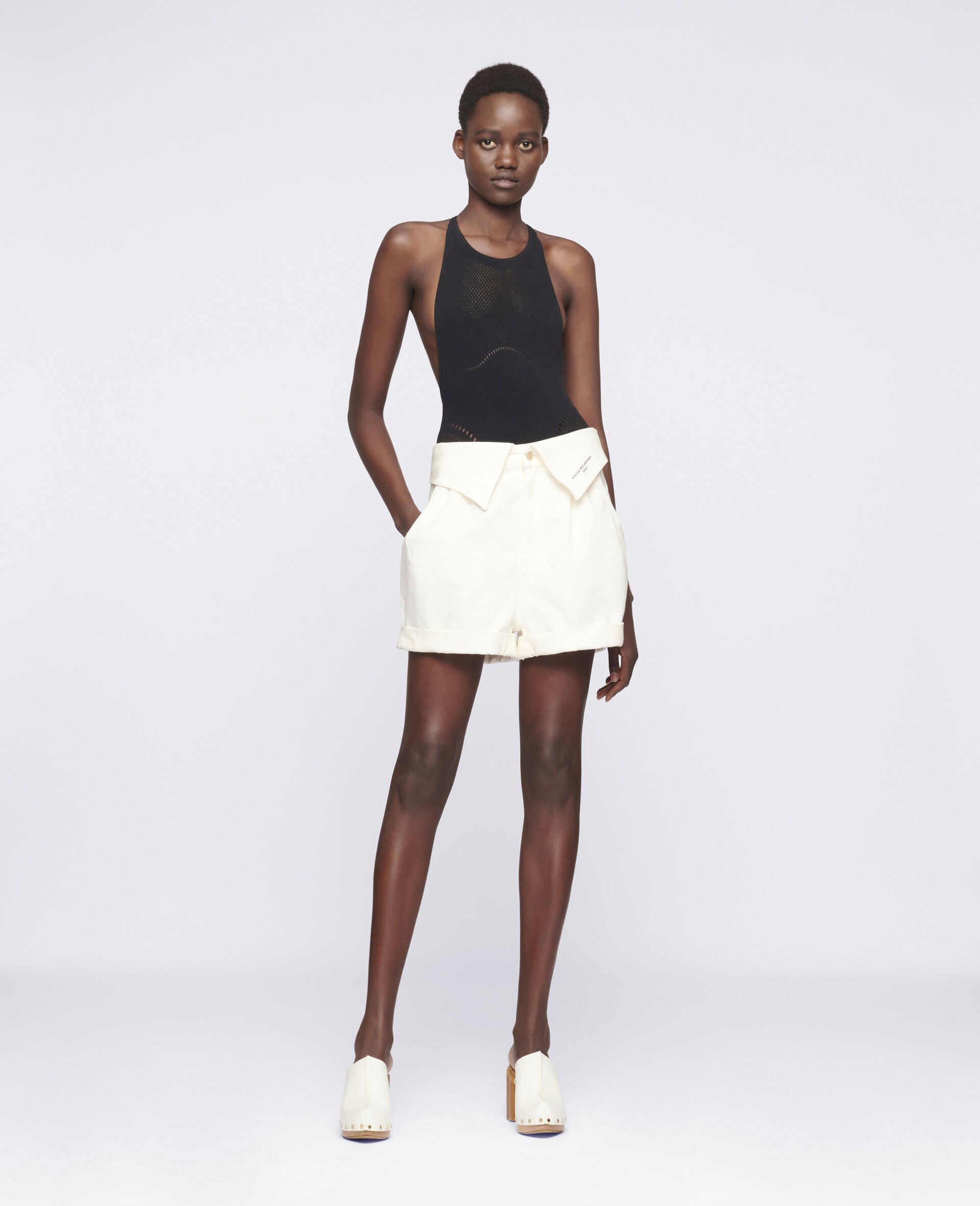 Denim-Shorts mit Print-Weiß-large image number 1