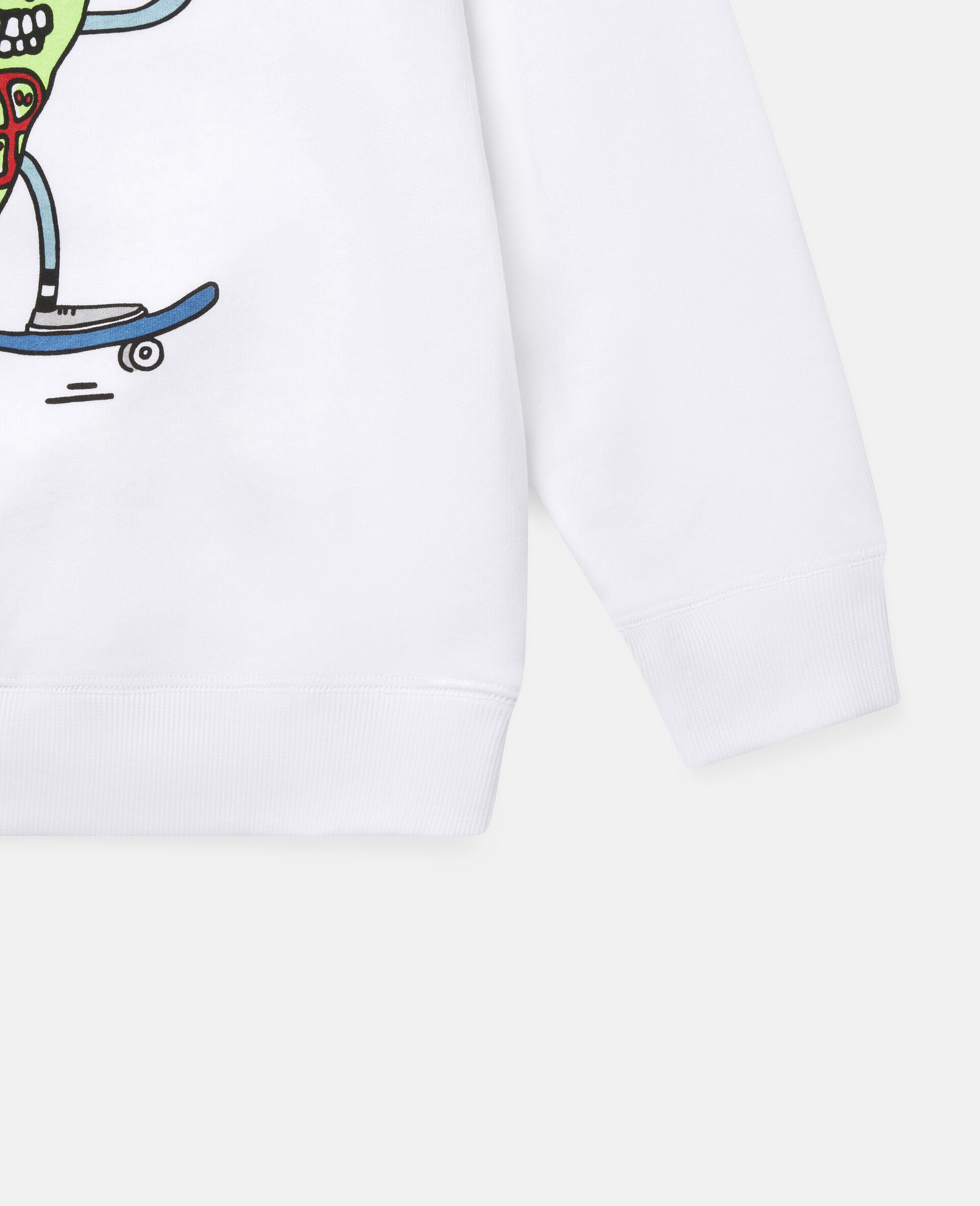 披萨滑板运动员印花抓绒运动衫-白色-large image number 2