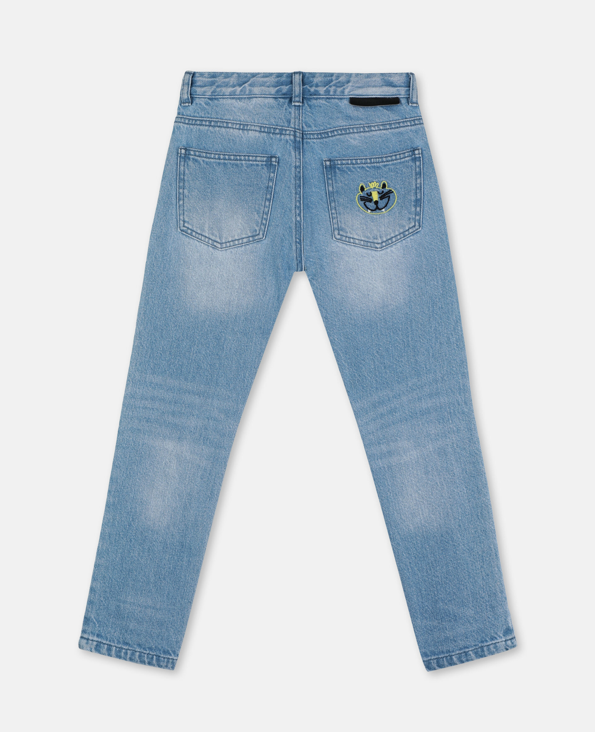 Embroidered Cats Boyfriend Denim Trousers-Blue-large image number 3