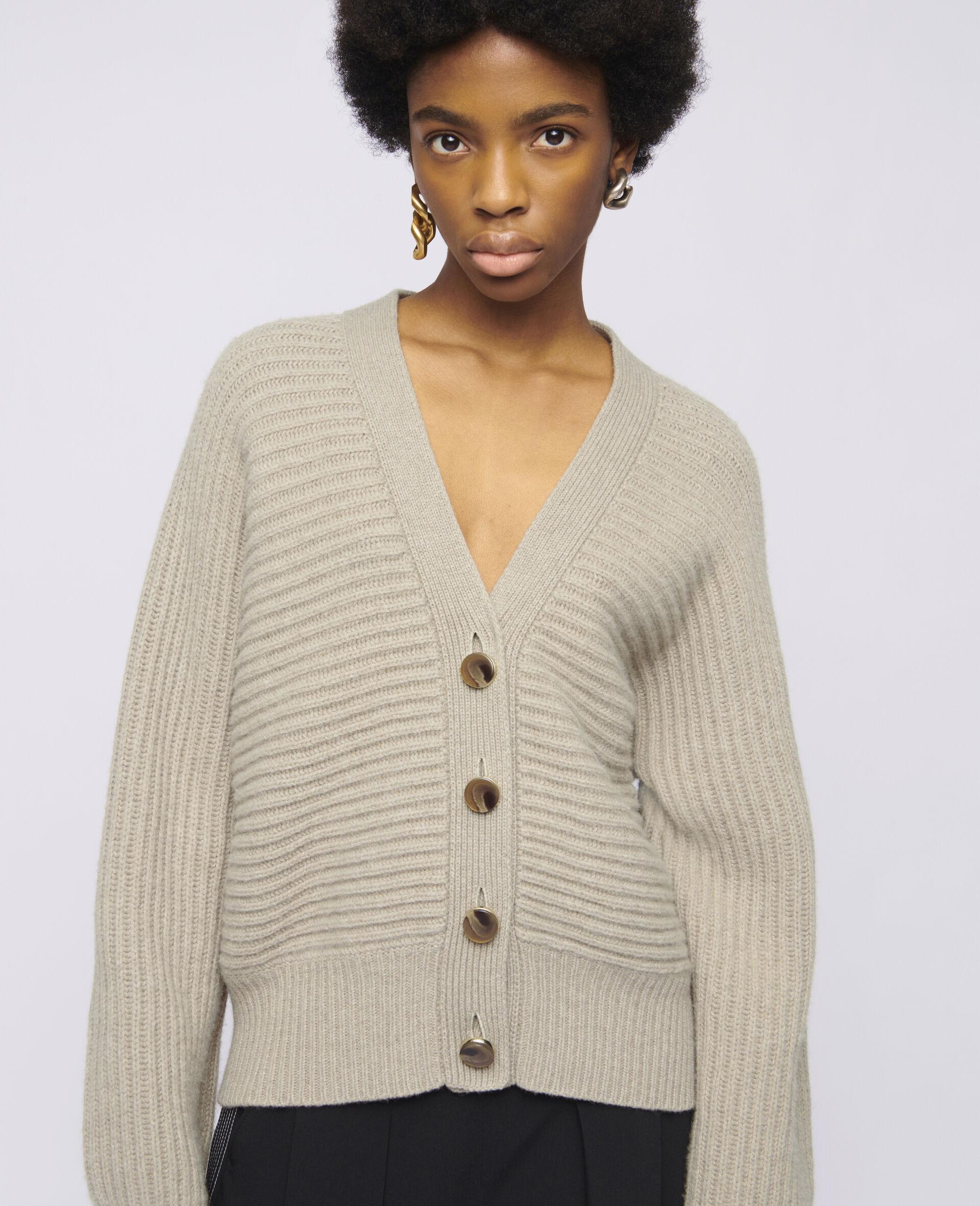 Soft Knit Cardigan -Beige-large image number 3