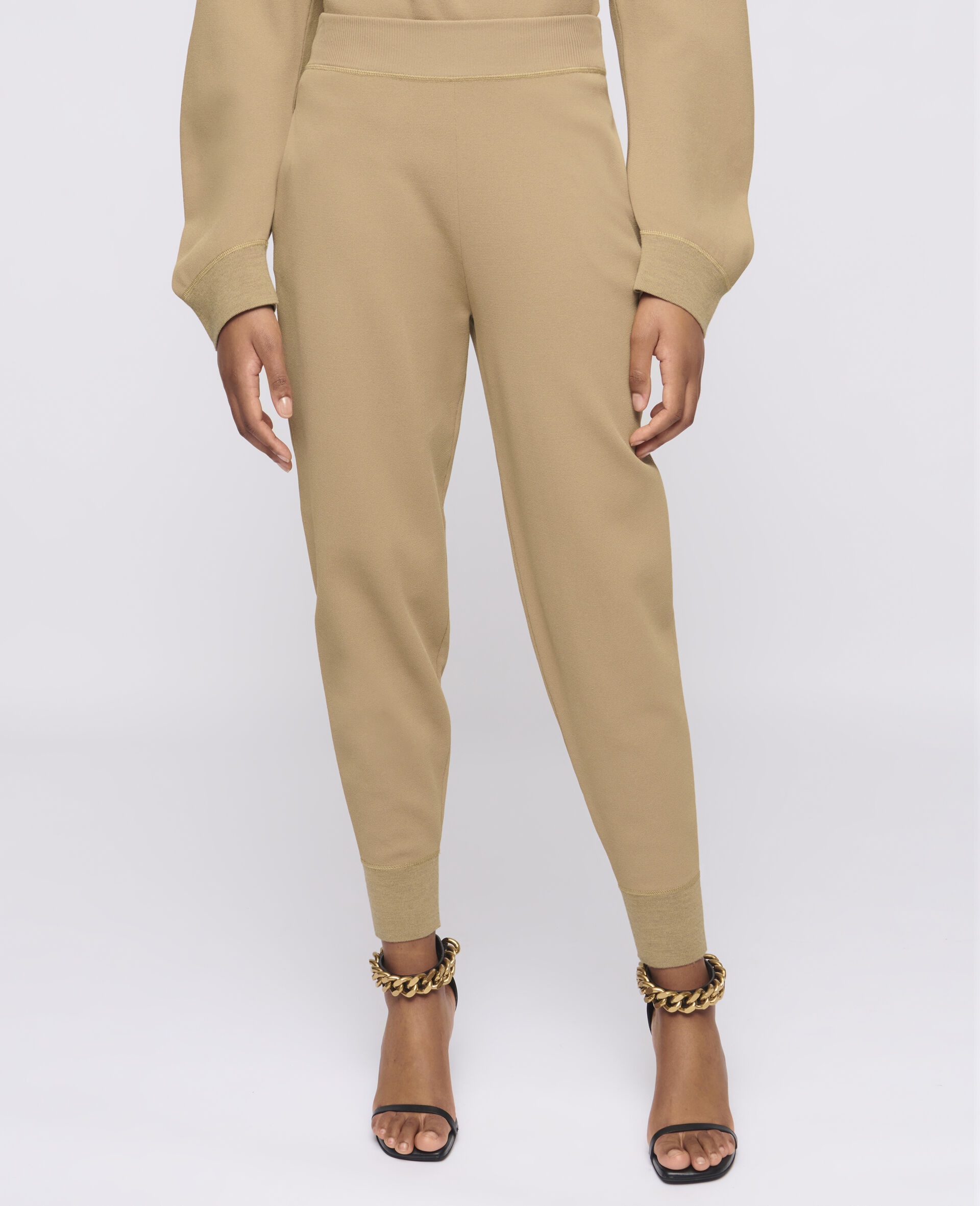 Pantaloni in Maglia Compatta-Marrone-large image number 3