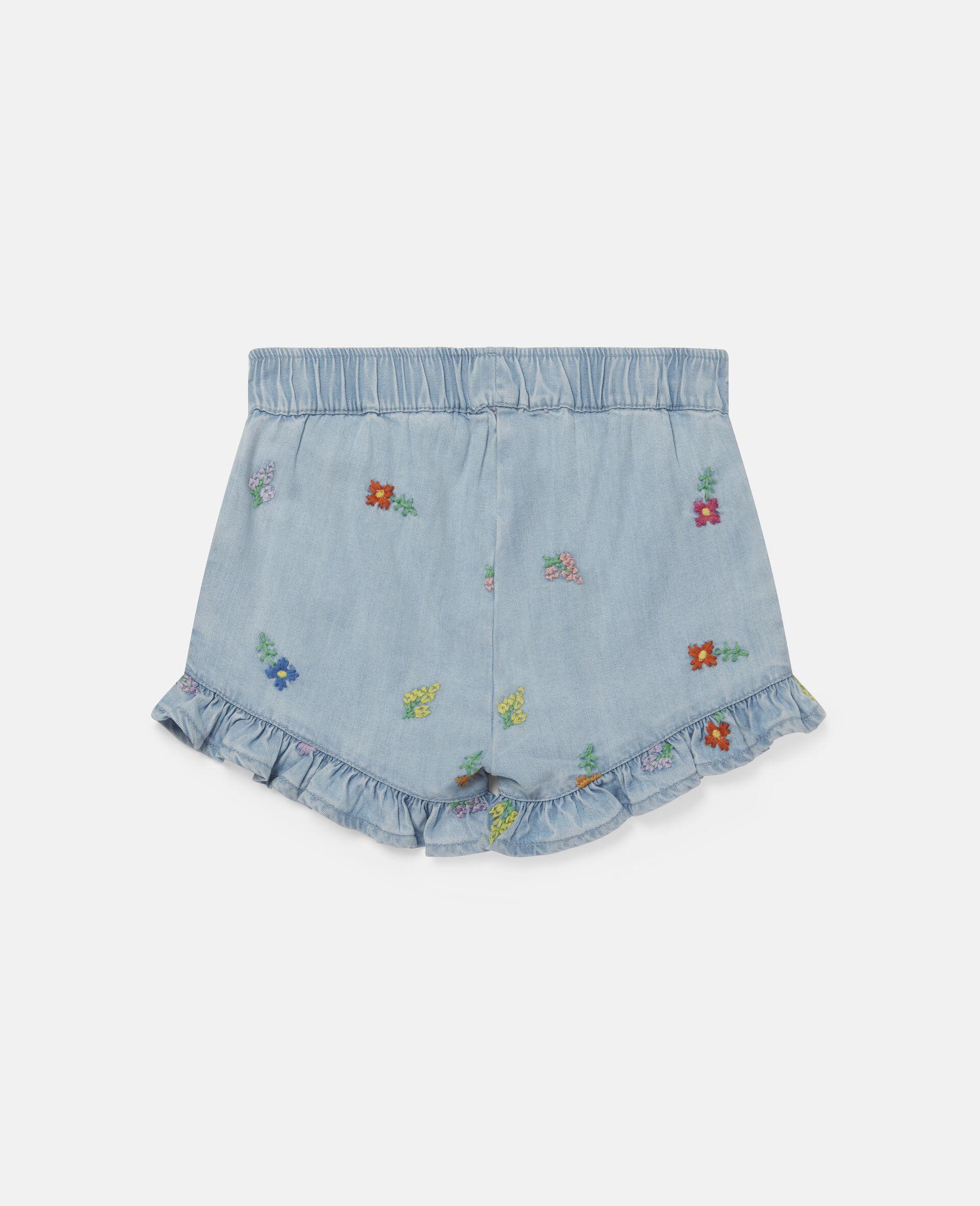 Shorts in Denim con Fiori Ricamati-Blu-large image number 3