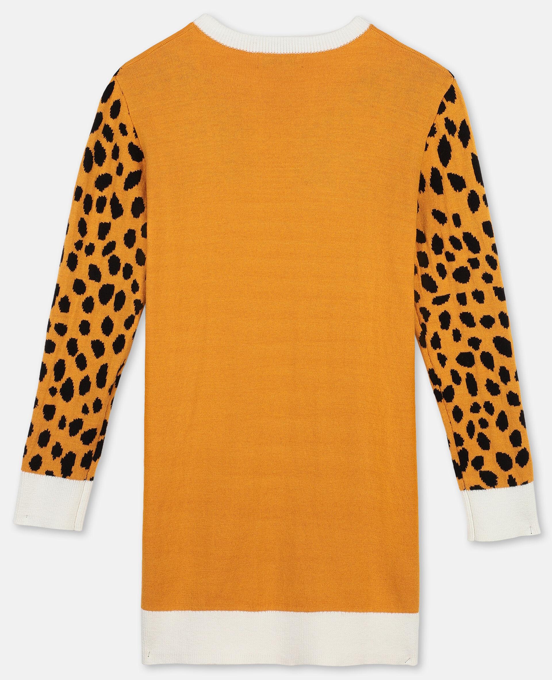 Cheetah嵌花针织连衣裙-橙色-large image number 3