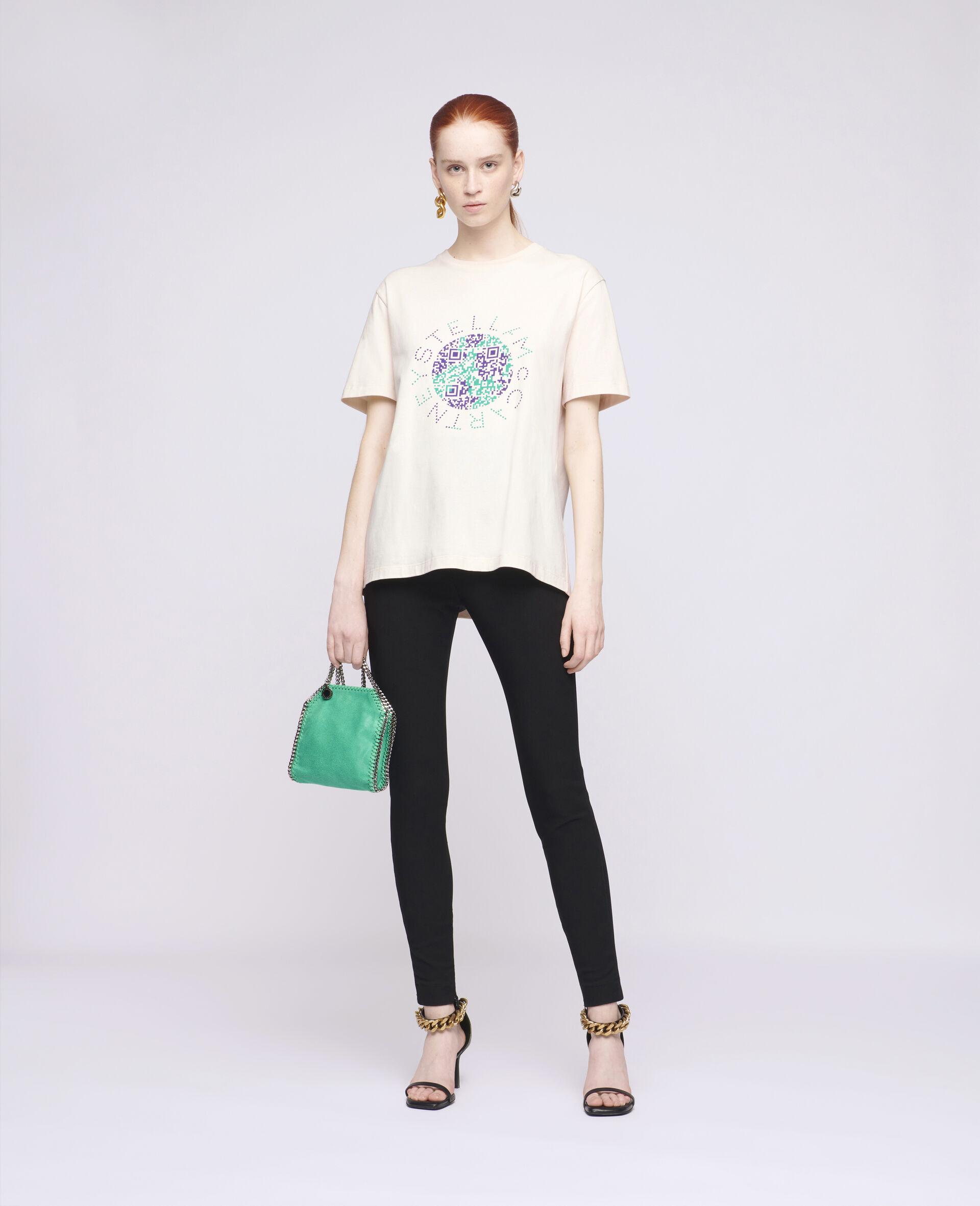 Baumwoll-T-Shirt mit Erde-Print-Weiß-large image number 1