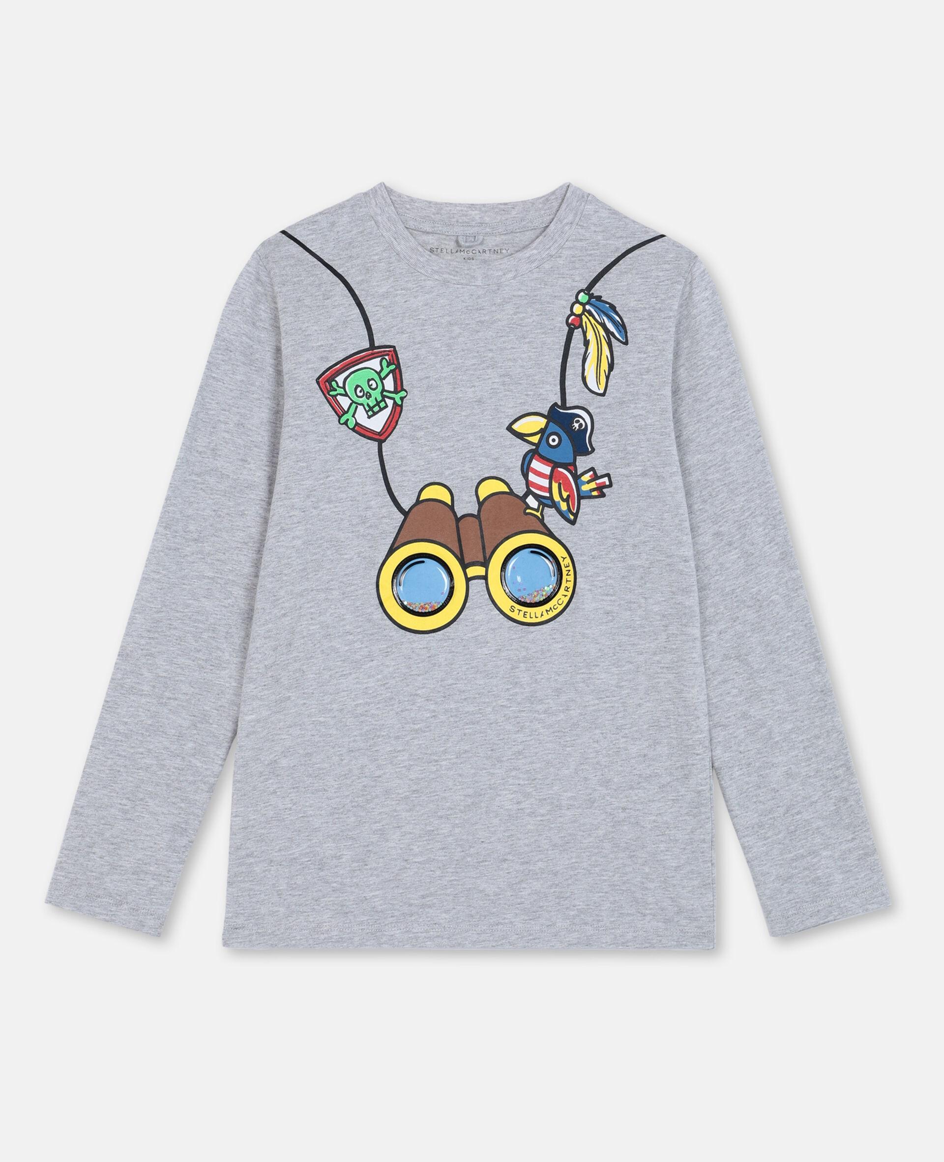 T-Shirt in Cotone con Binocolo 3D -Grigio-large image number 0