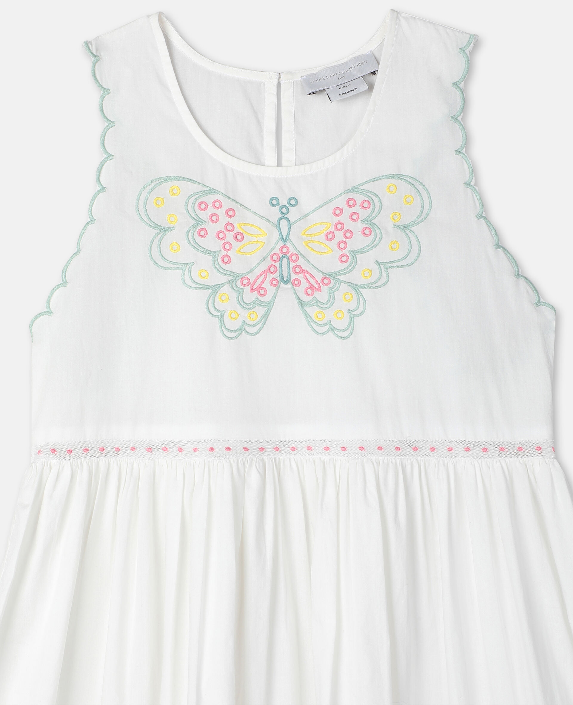 Butterfly刺绣棉质连衣裙-白色-large image number 2