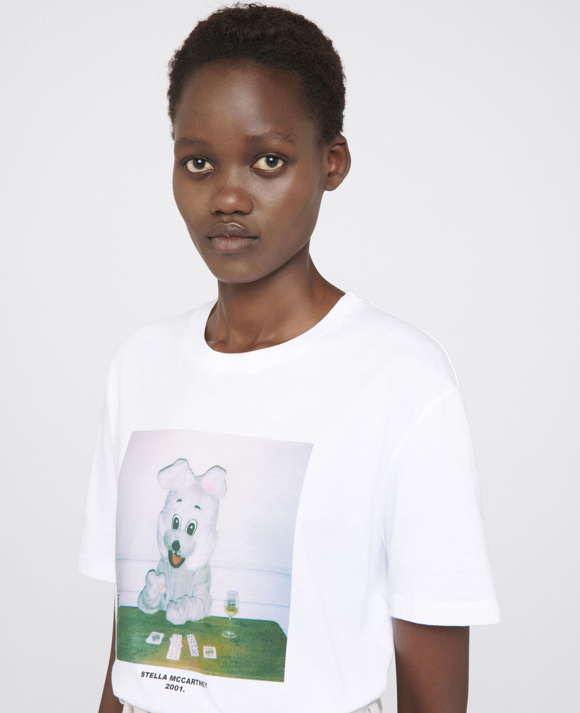Bunny Print T-shirt -White-large image number 3