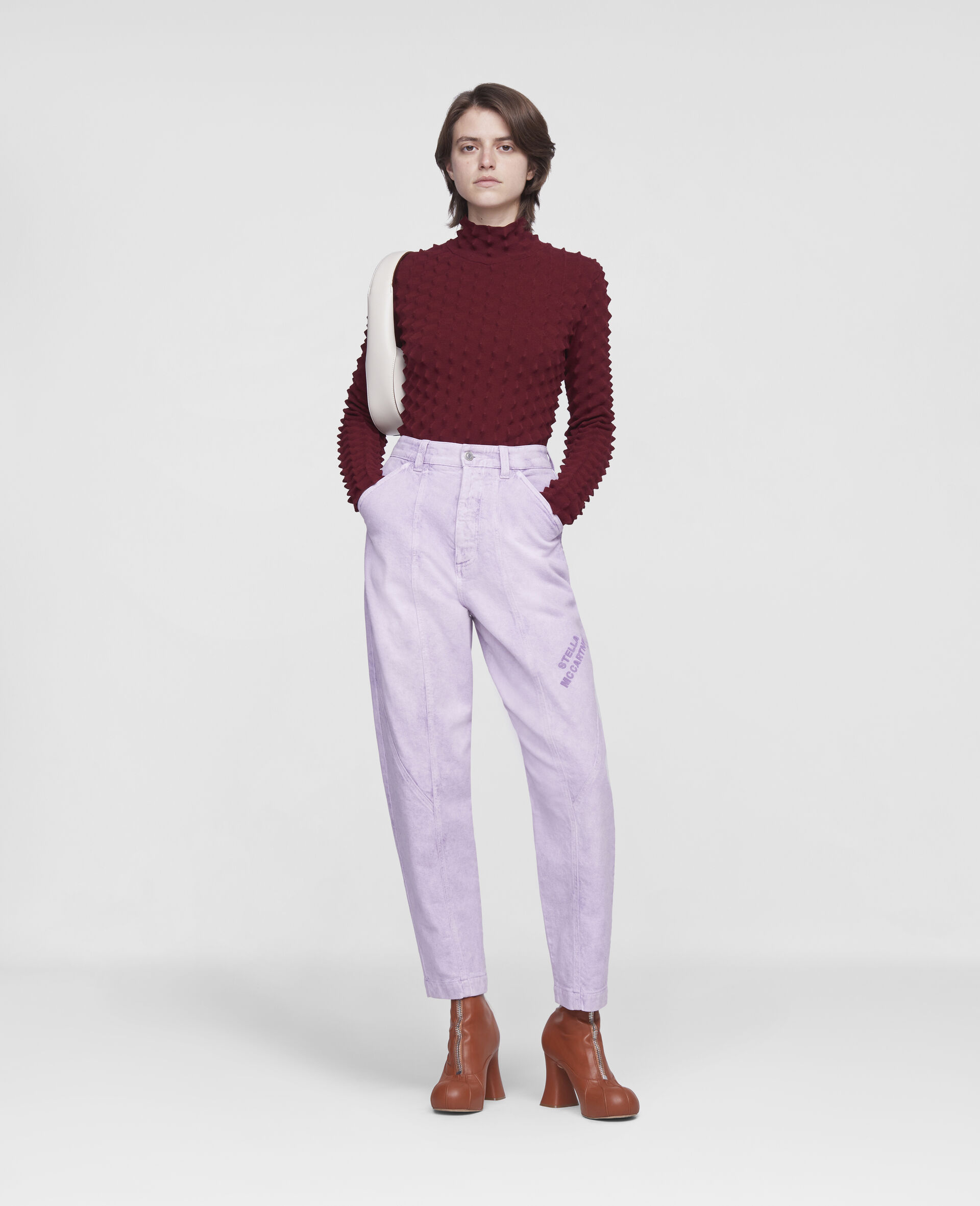 Cropped Denim Trousers-Purple-large image number 1