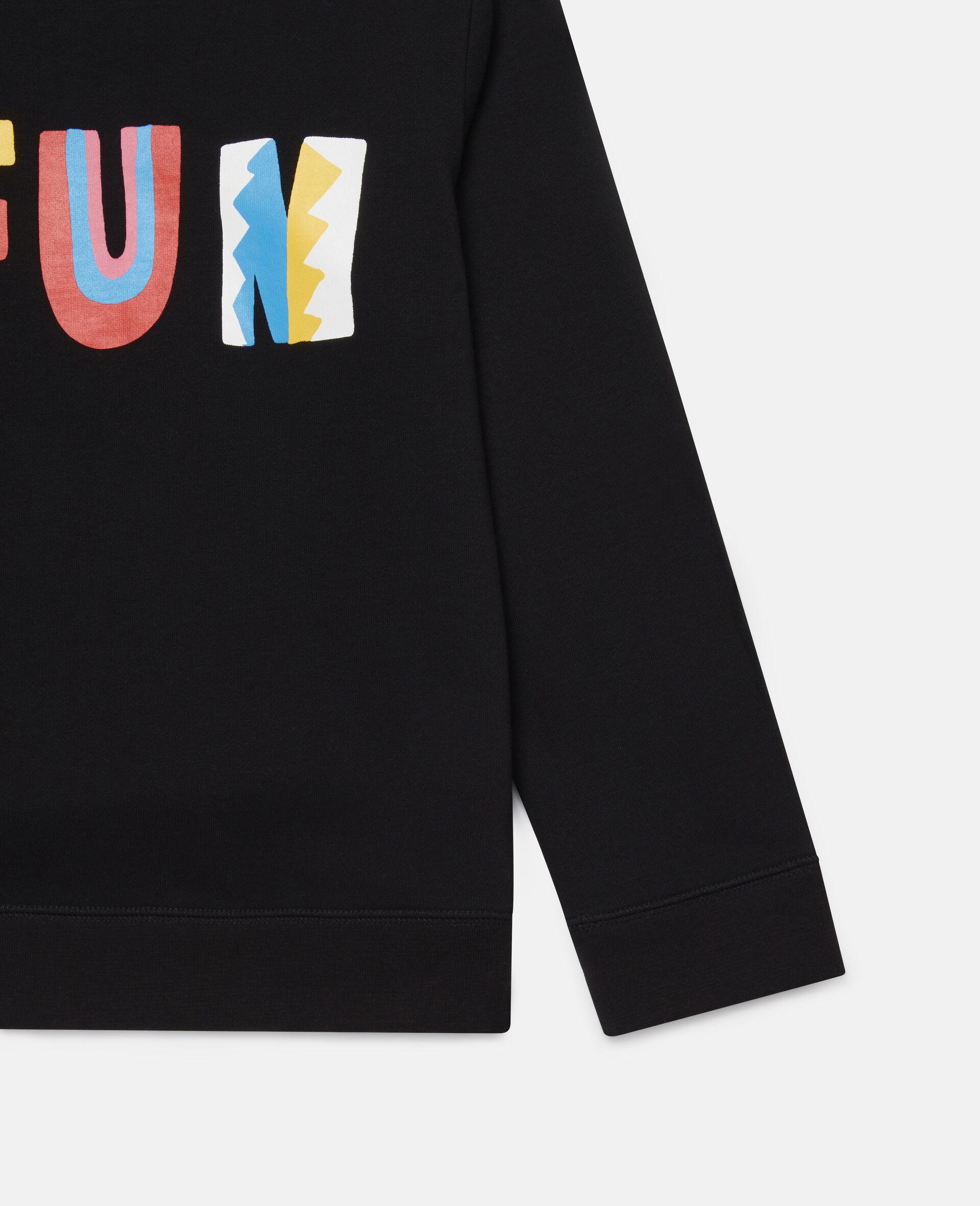 Übergroßes Sweatshirt aus Baumwollfleece mit Fun-Print -Schwarz-large image number 2