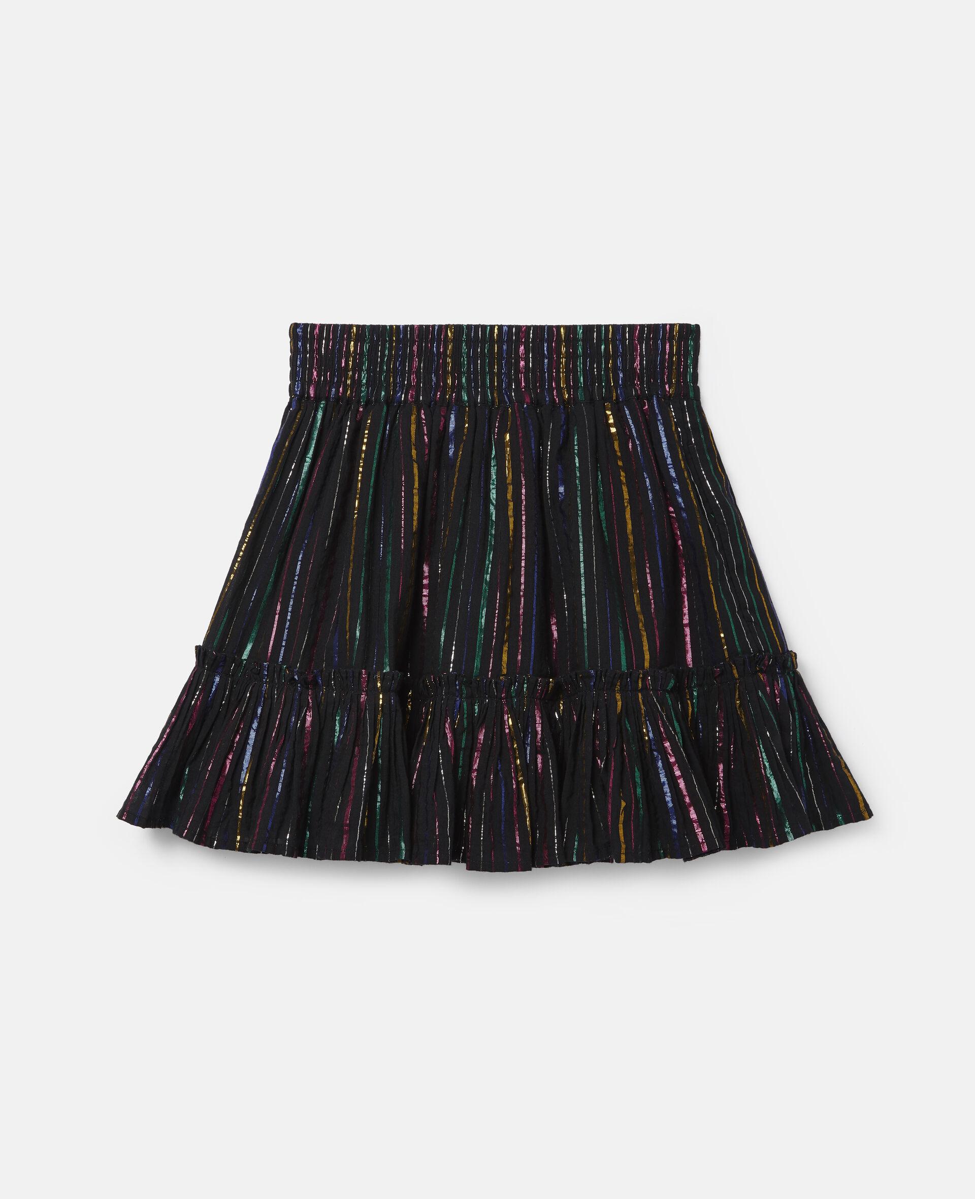 Rainbow Lurex Striped Cotton Skirt-Black-large image number 3