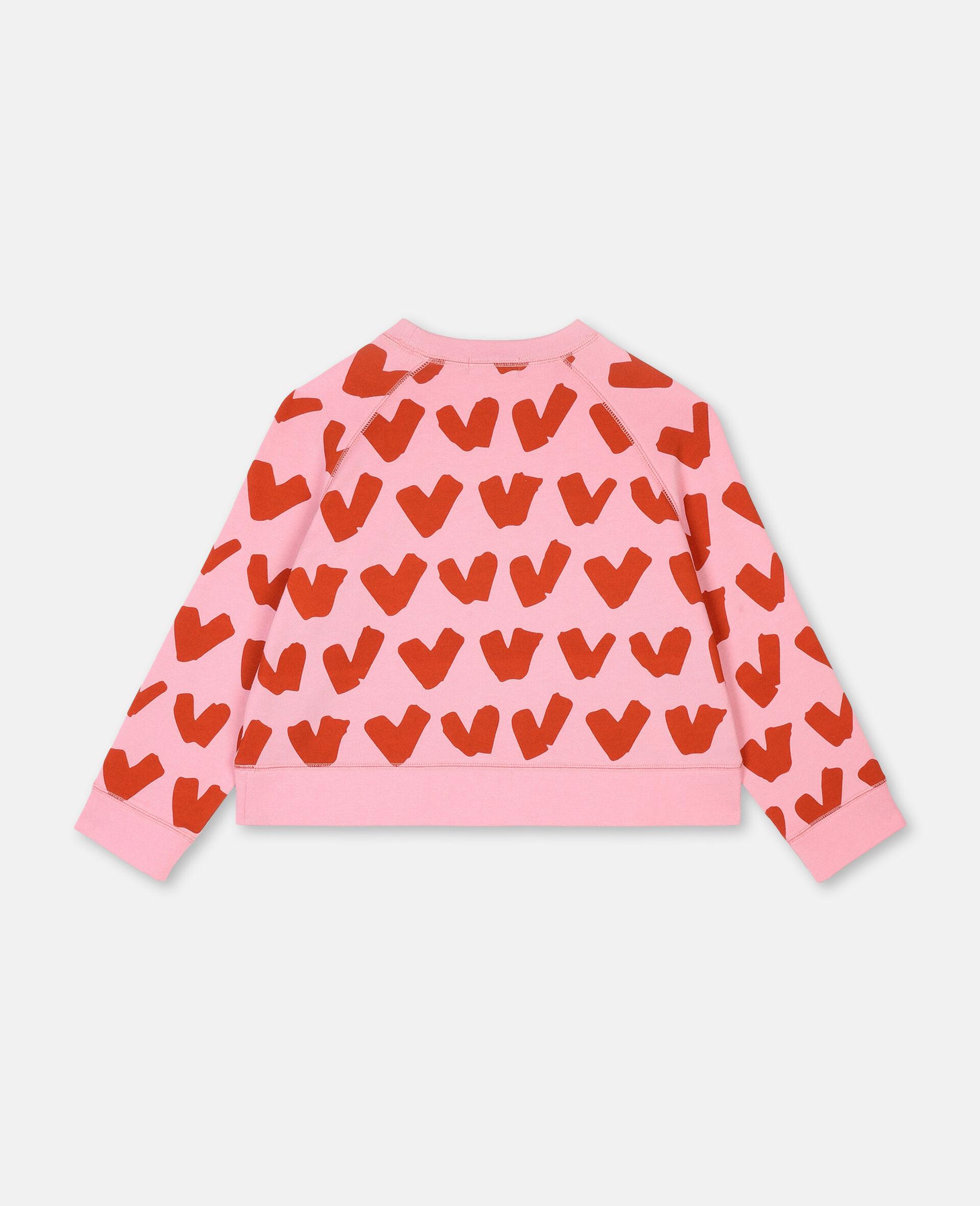 Hearts Cotton Fleece Sweatshirt -Pink-large image number 3