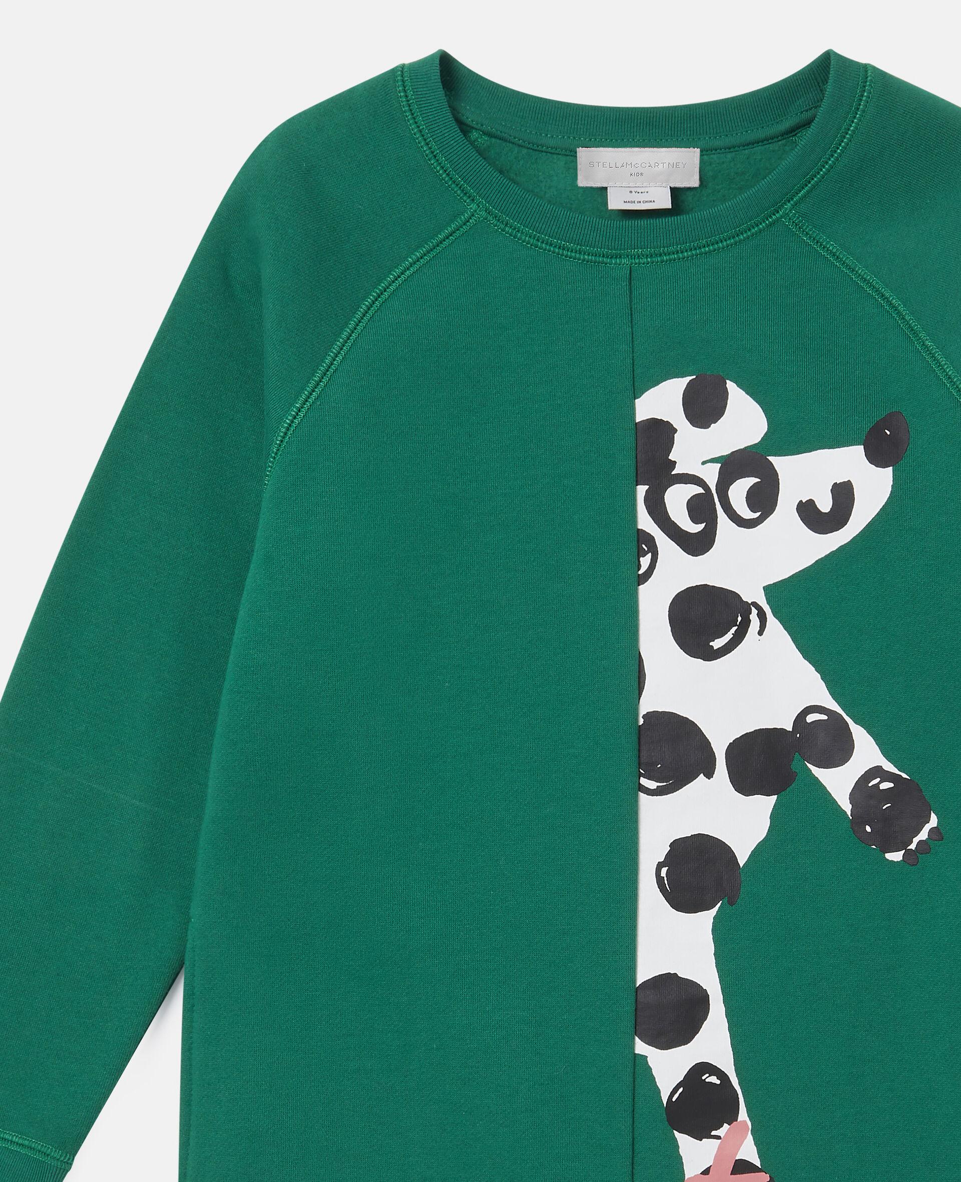 Dancing Dog Fleece Dress-Green-large image number 1