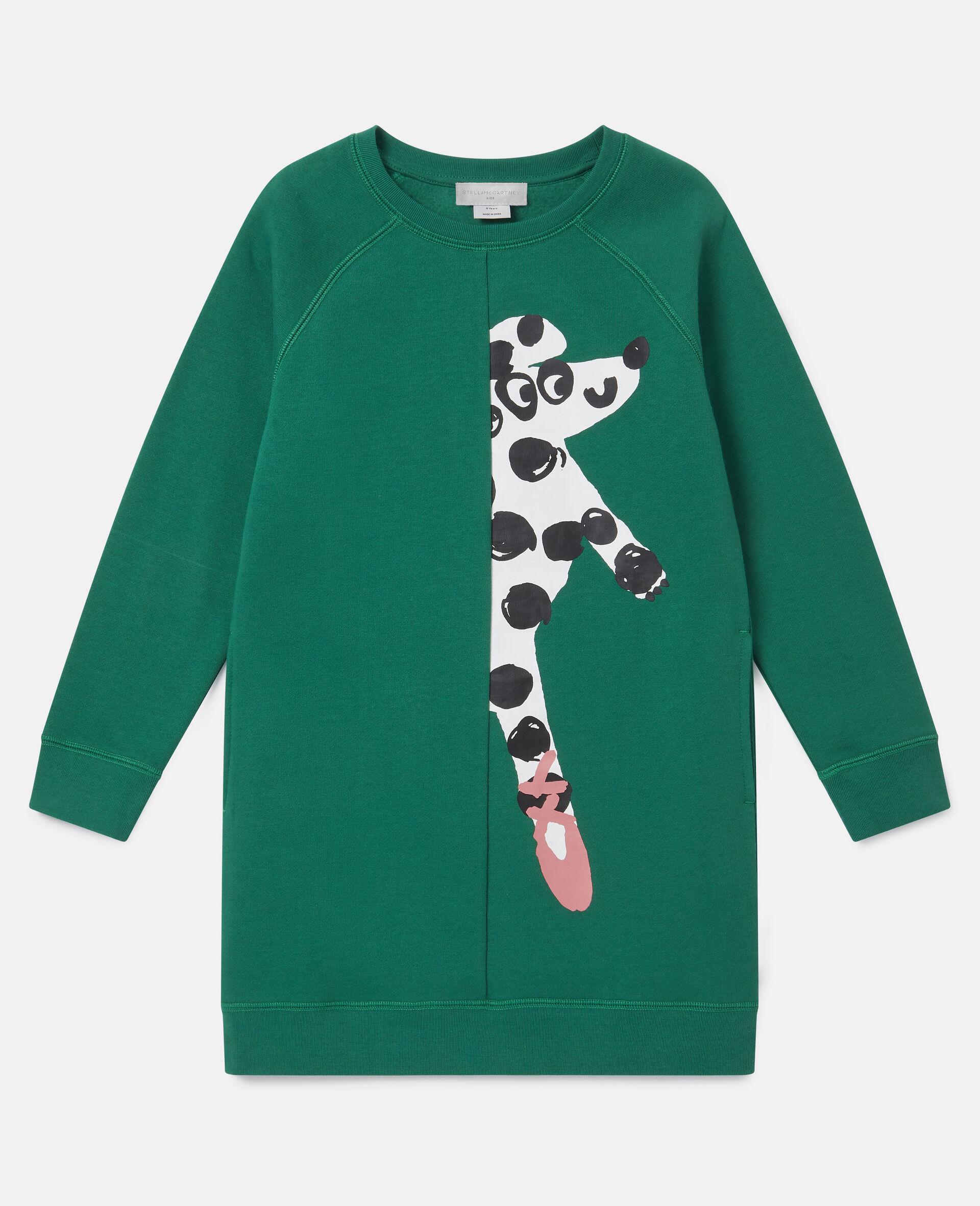 Kleid aus Fleece mit tanzendem Hund-Grün-large image number 0
