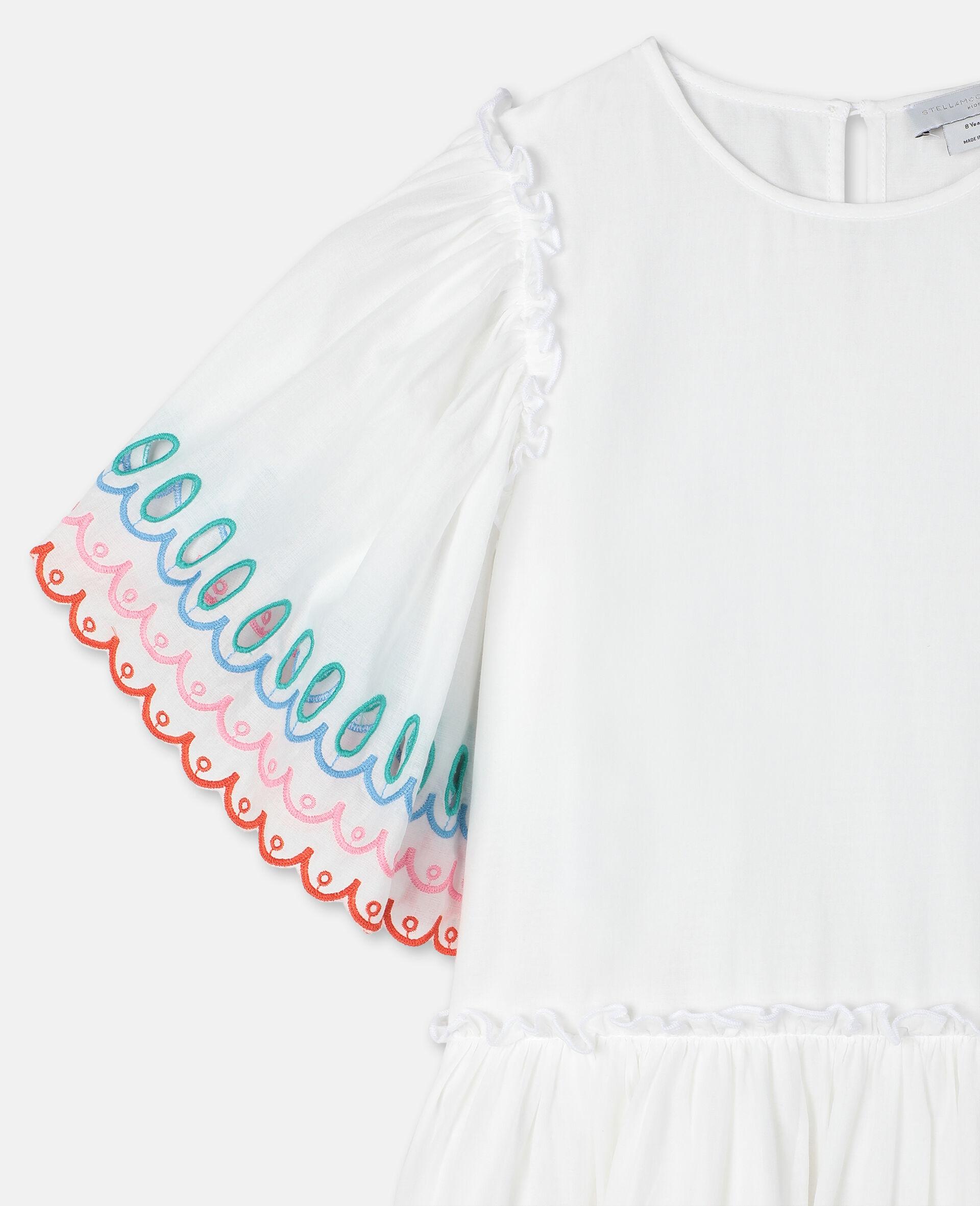 Scalloped Cotton Dress-White-large image number 2