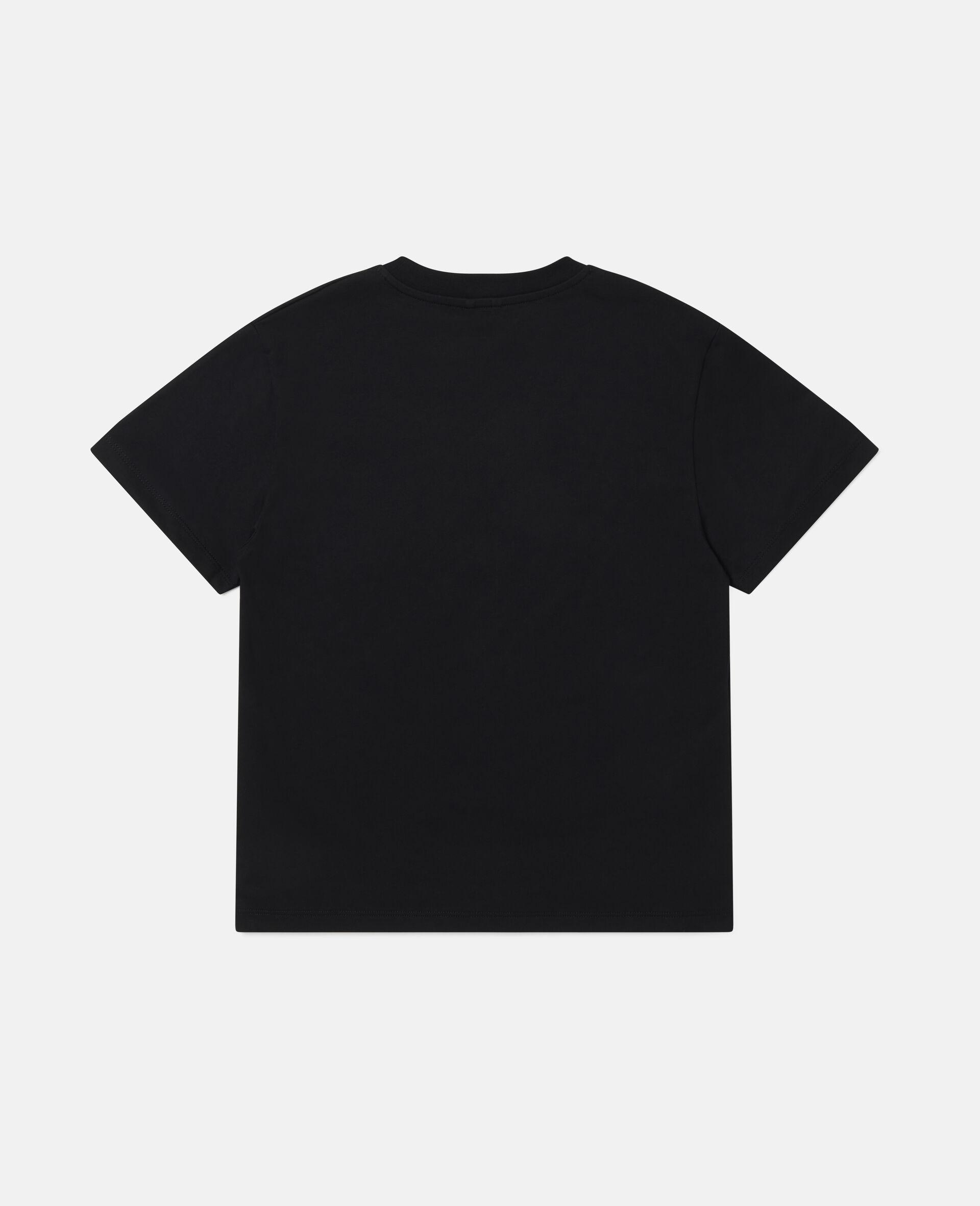 骷髅头印花超大号徽标棉质T恤-黑色-large image number 3
