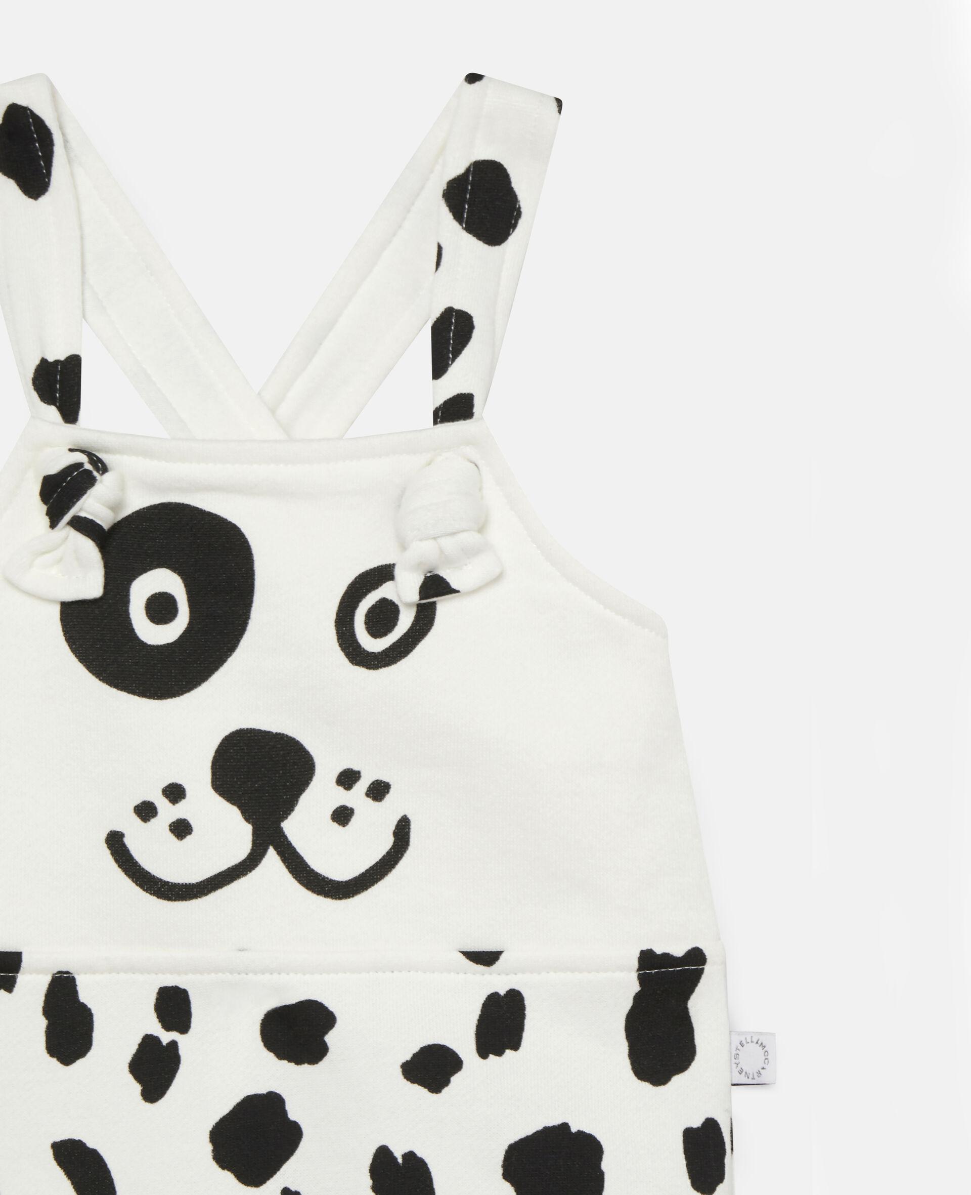 Fleece-Jumpsuit mit Dalmatinerflecken-Print-Weiß-large image number 1