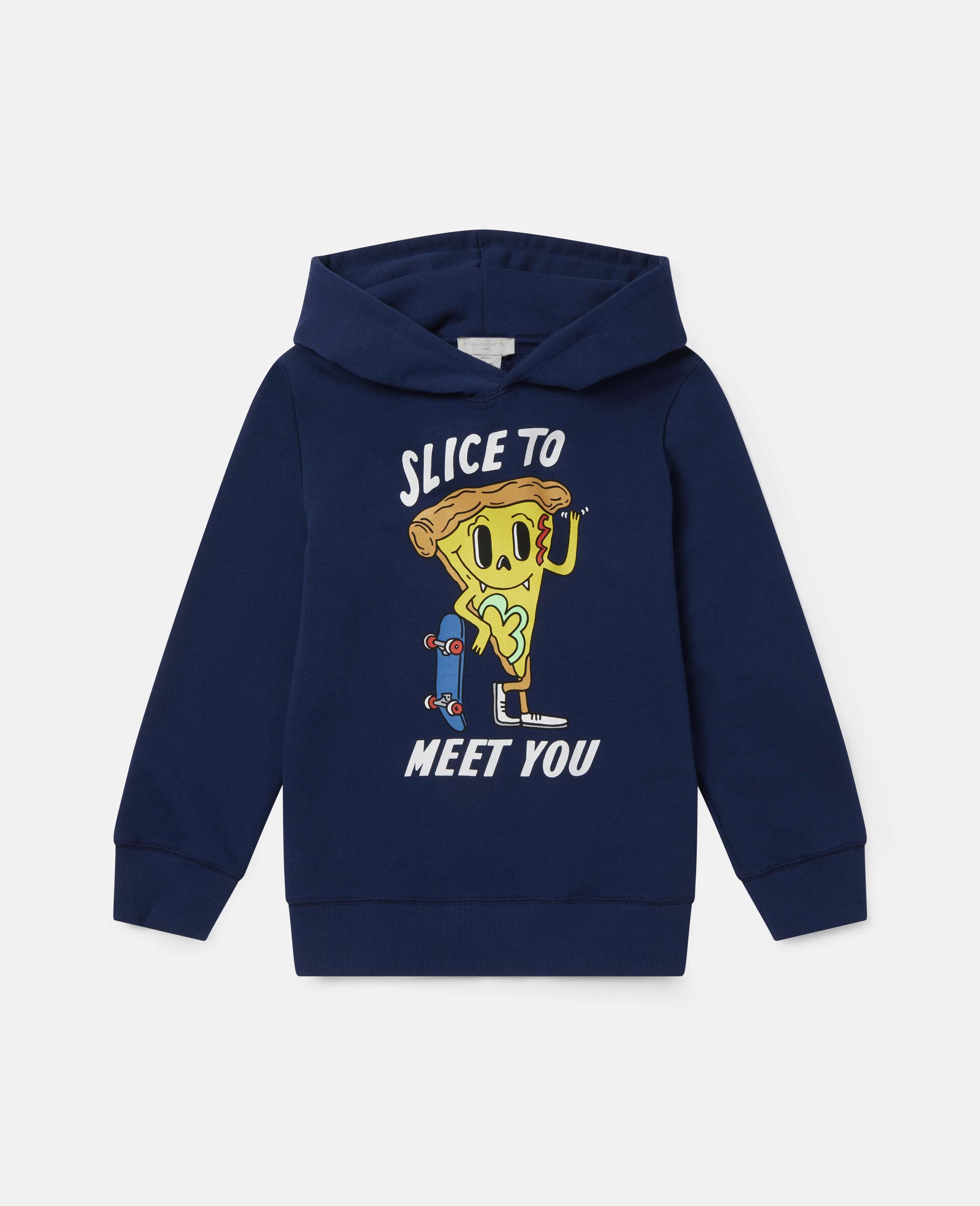 Pizza Skater Oversized Fleece Hoodie-Blue-large image number 0