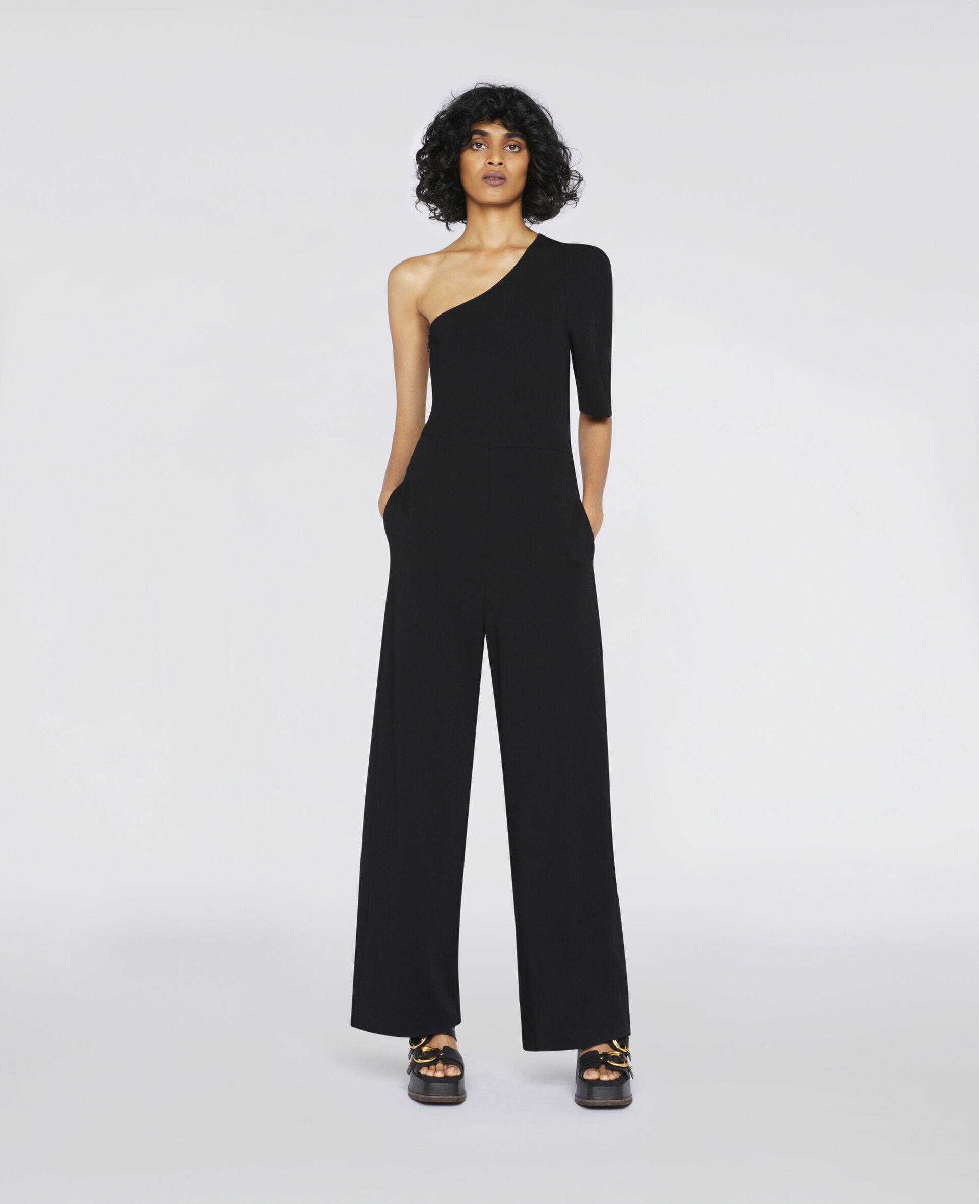Compact Knit Jumpsuit-Black-large image number 1