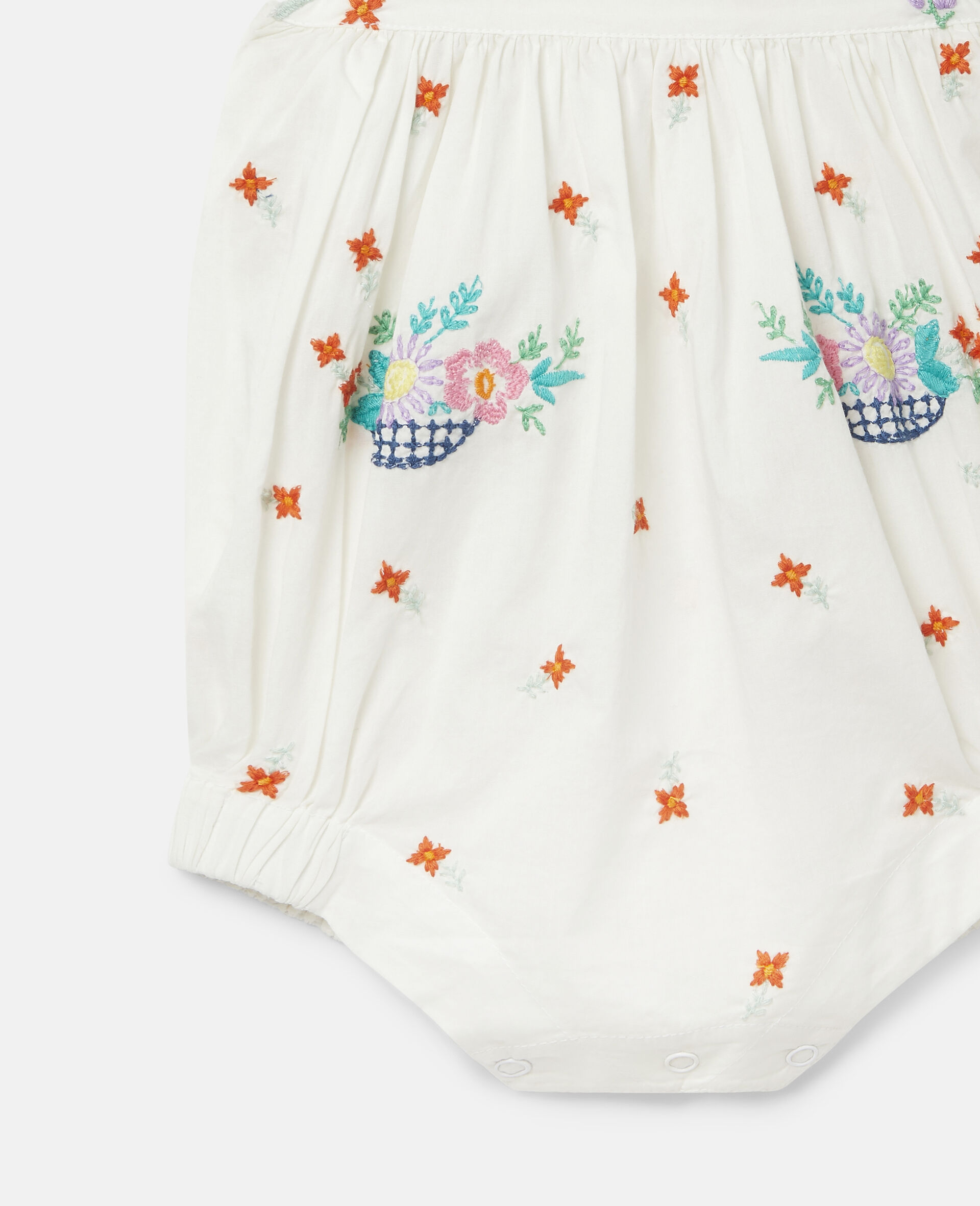 Embroidered Flowers Cotton Dungarees-White-large image number 1