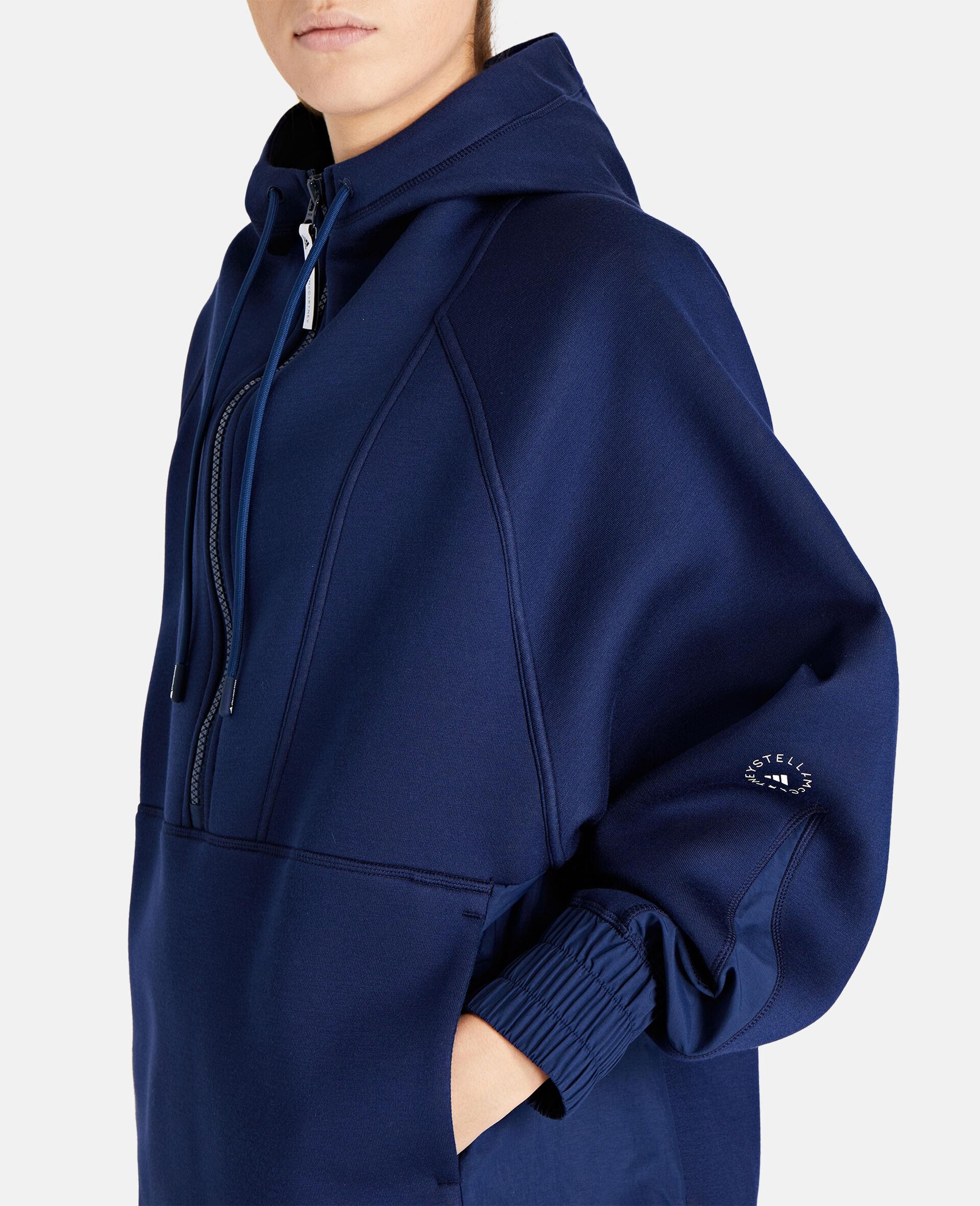 Blauer Kapuzenpullover mit halbem Reißverschluss-Blau-large image number 3