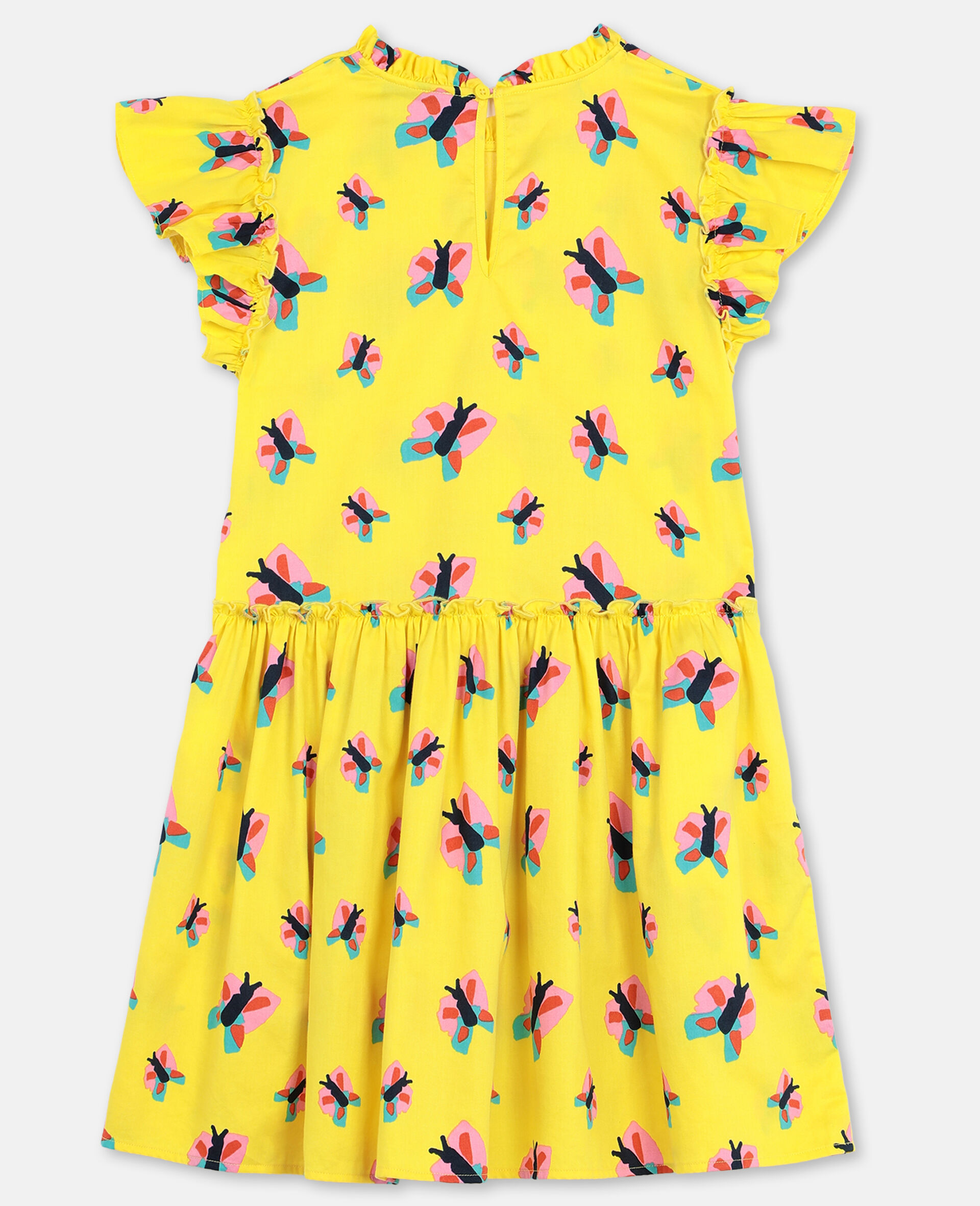 Butterfly Cotton Dress-Yellow-large image number 3