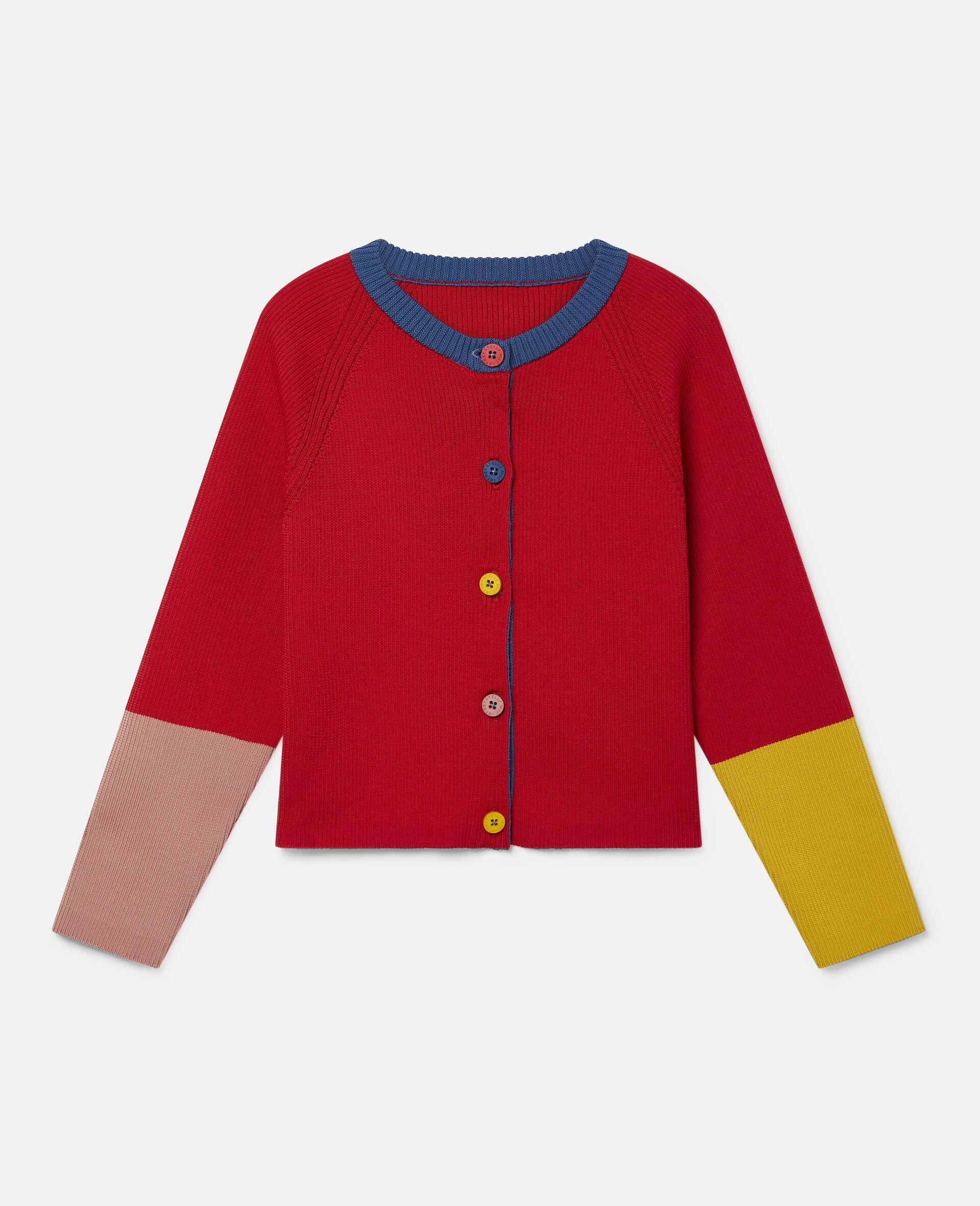 Cardigan en maille côtelée motif colourblock  -Rouge-large image number 0