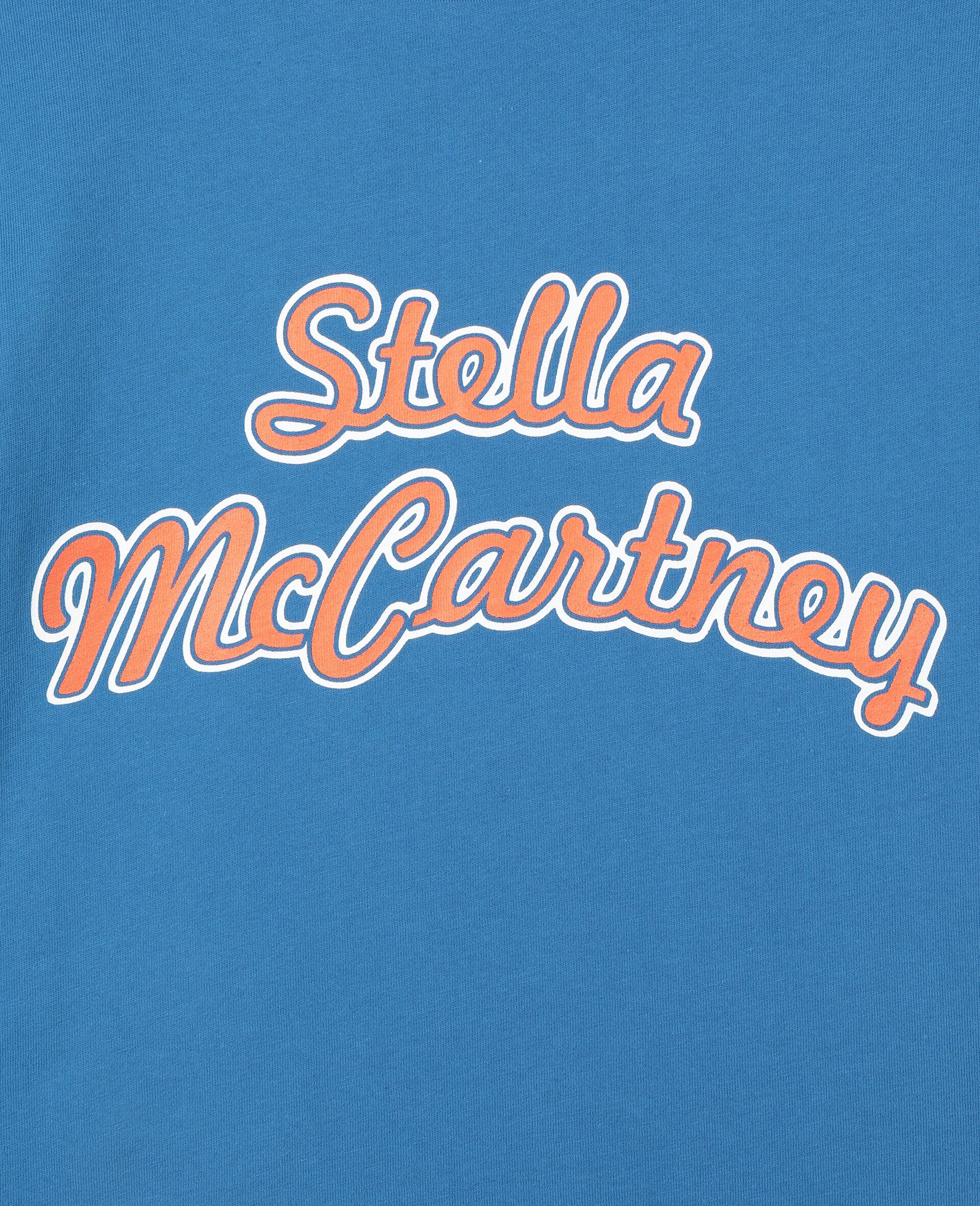 T-shirt de sport oversize en coton avec logo -Bleu-large image number 1