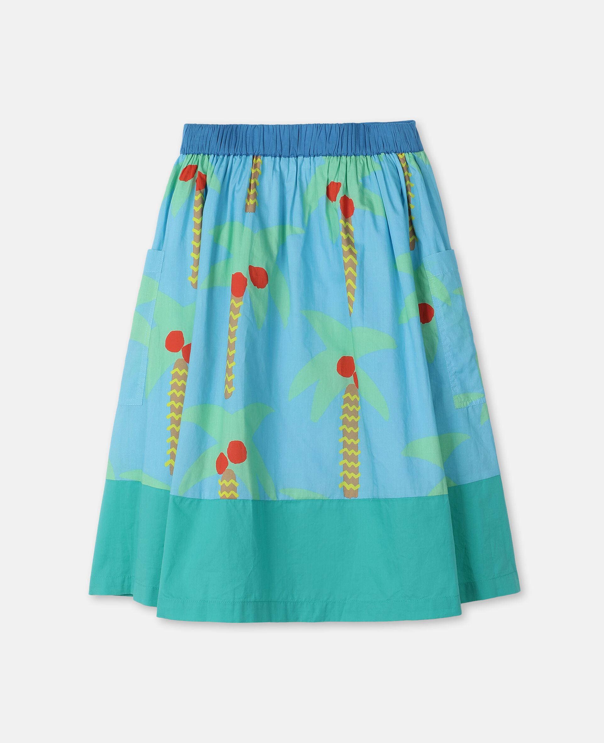 Palm Trees Cotton Skirt -Green-large image number 3