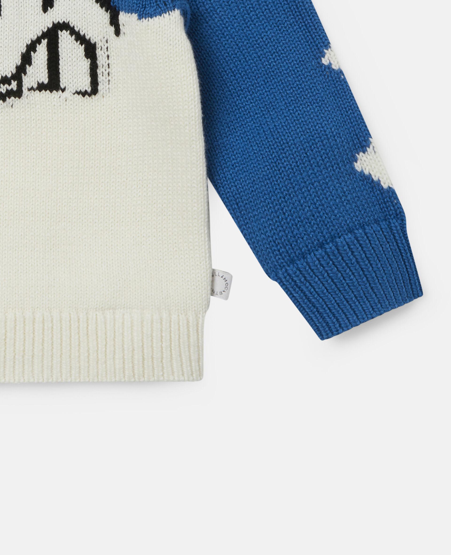 Doodle Dog Knit Intarsia Sweater-White-large image number 2