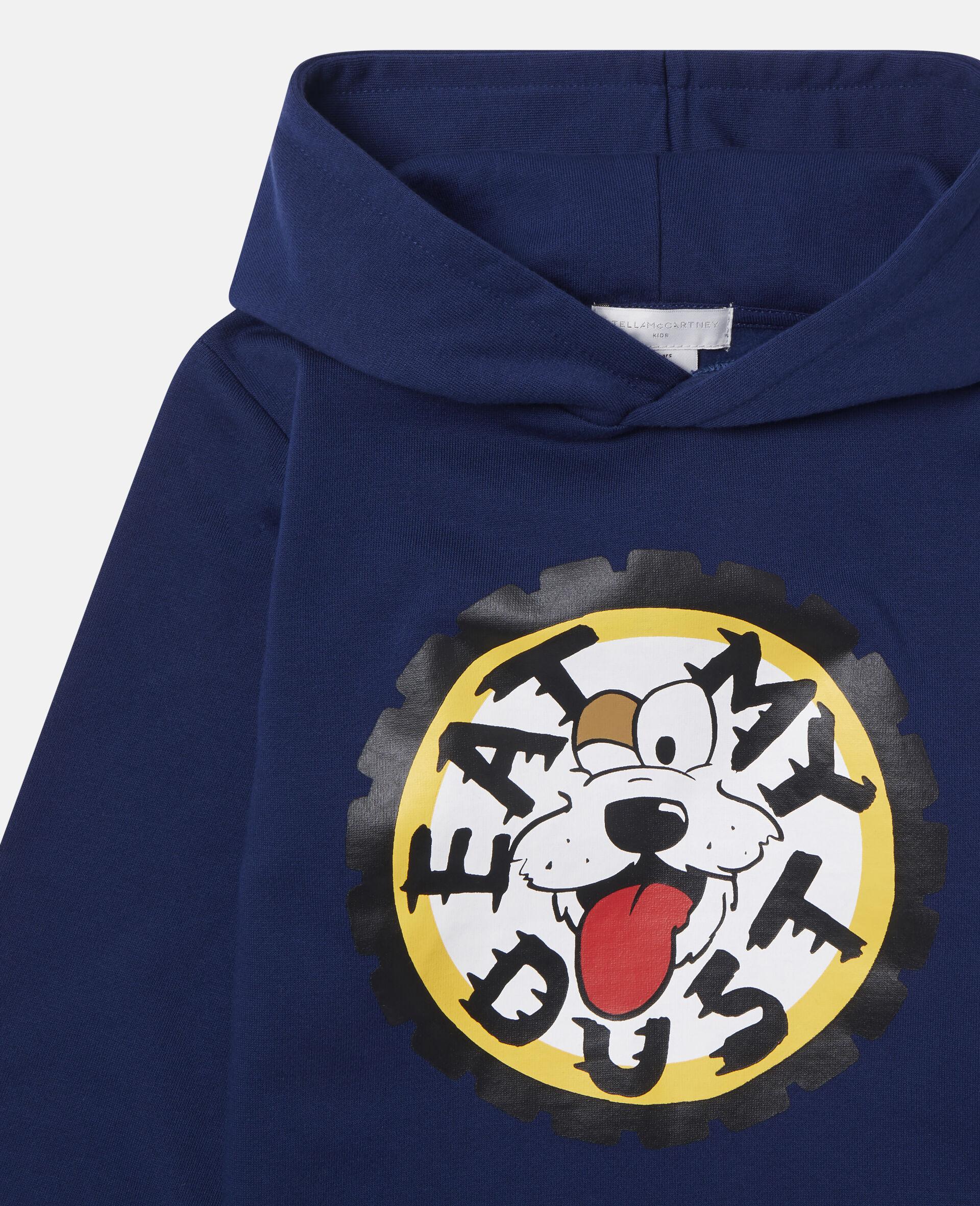 Oversized 'Eat My Dust' Fleece Hoodie-Blue-large image number 1