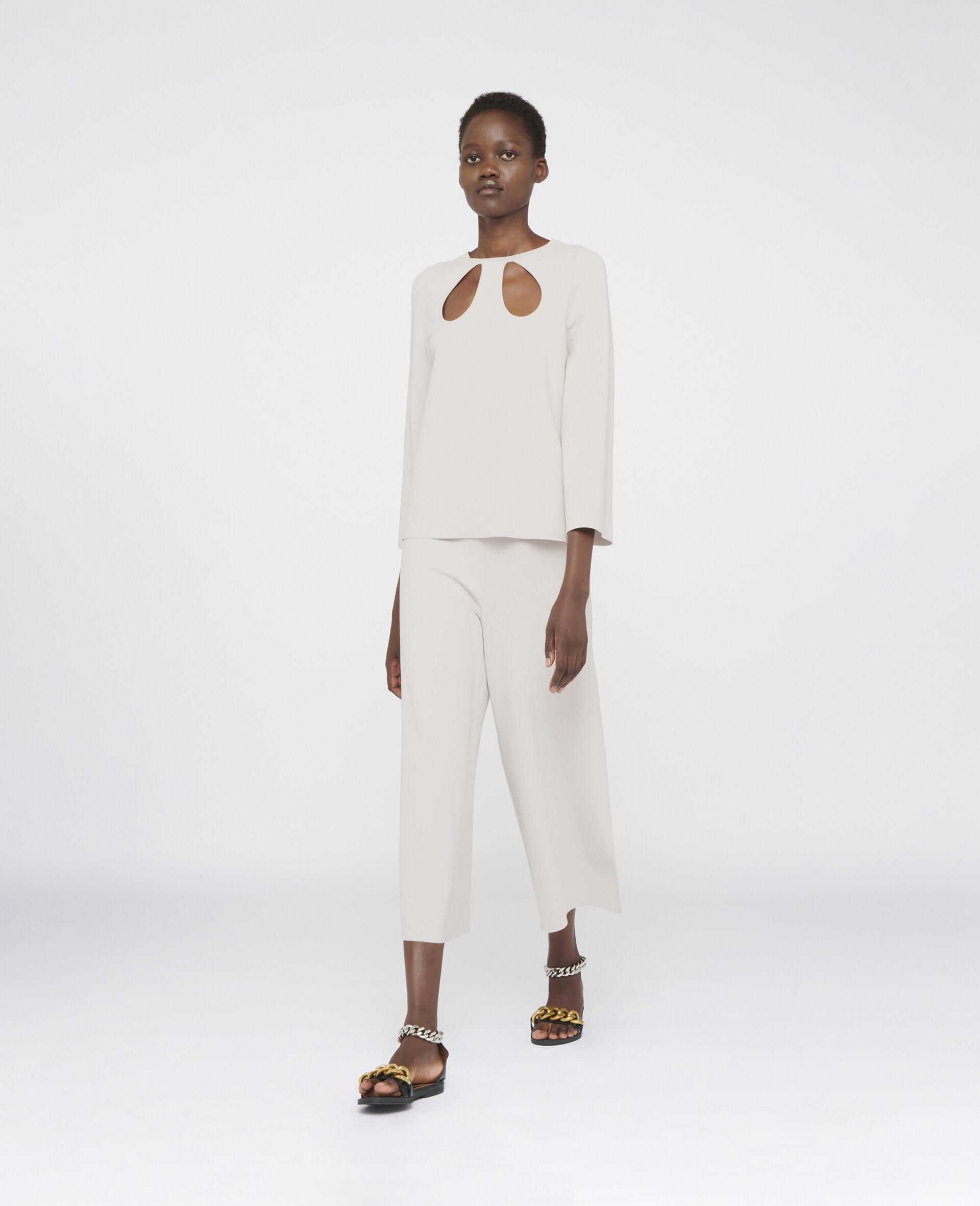 Pantalon en maille compacte-Gris-large image number 1