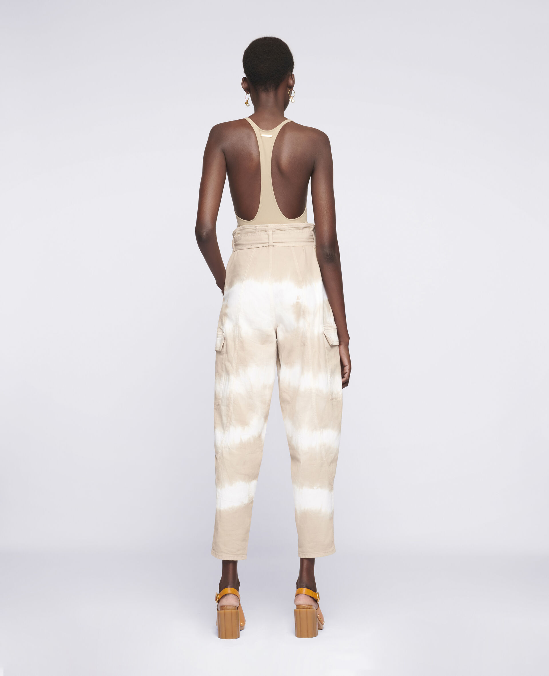 Tie-Dye Denim Trousers-Beige-large image number 2