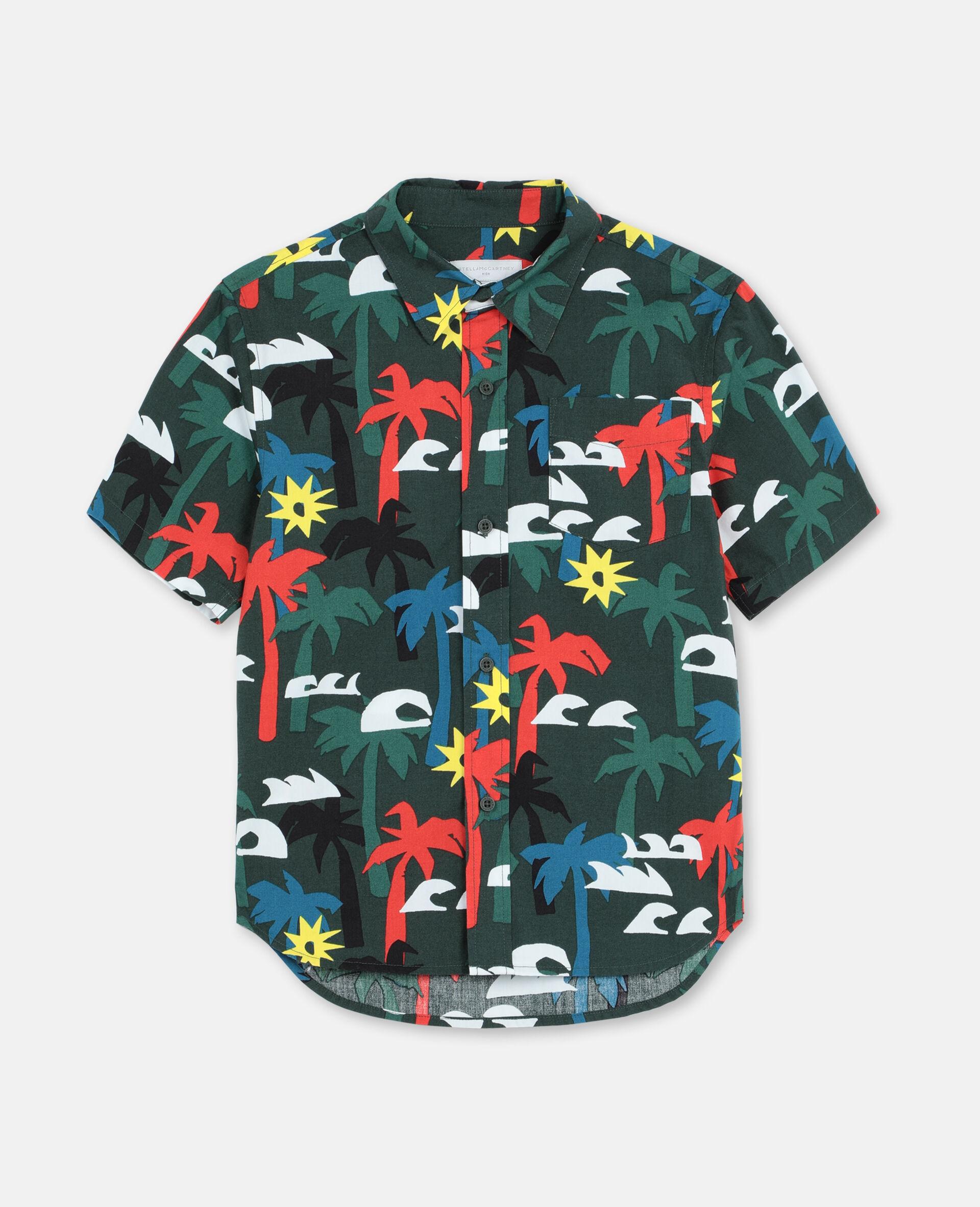 Palm Oversize Cotton Shirt -Multicolour-large image number 0