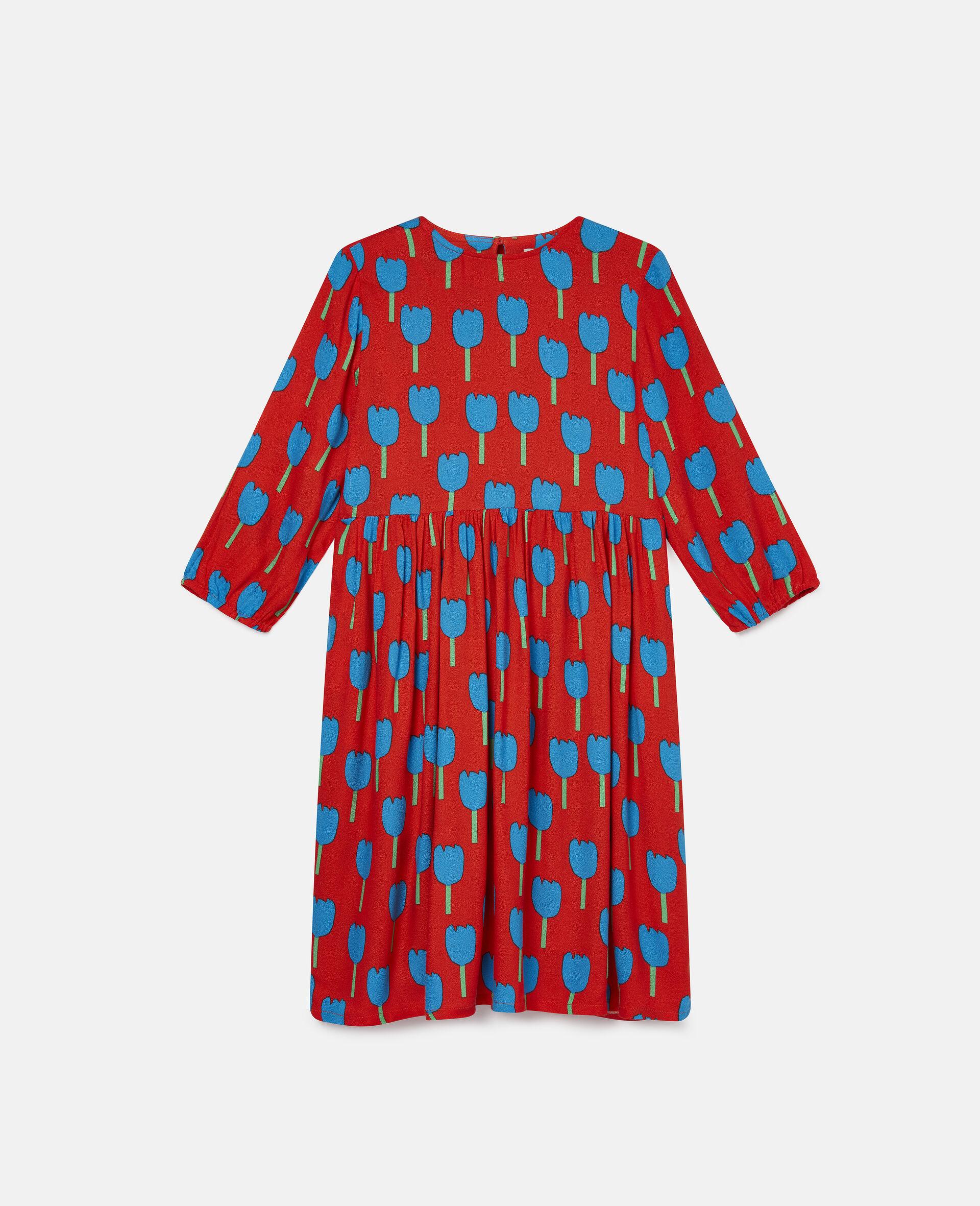 Robe en crêpe de viscose motif tulipes-Rouge-large image number 0