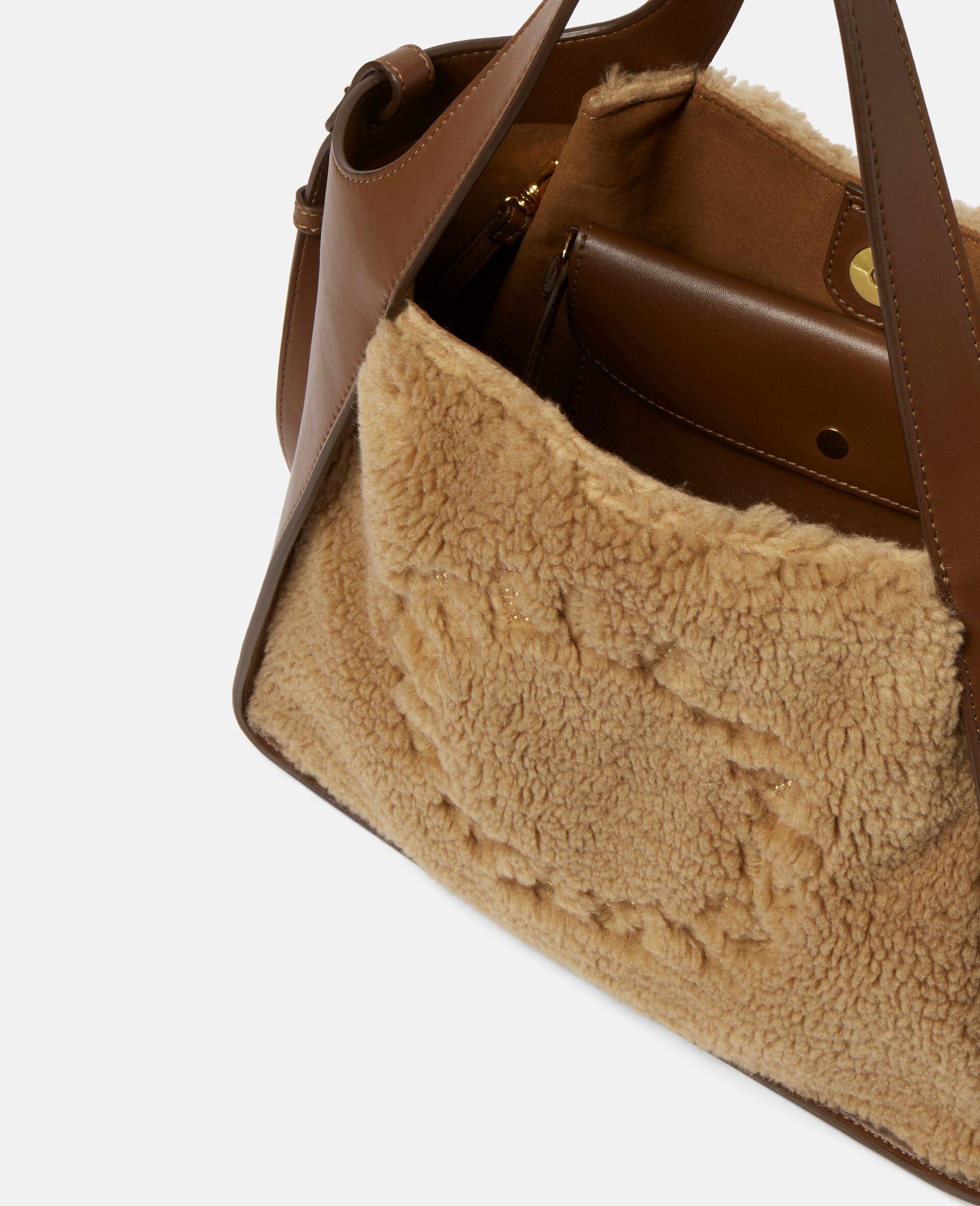 Stella Logo Teddy Mat Crossbody Bag -Brown-large image number 3