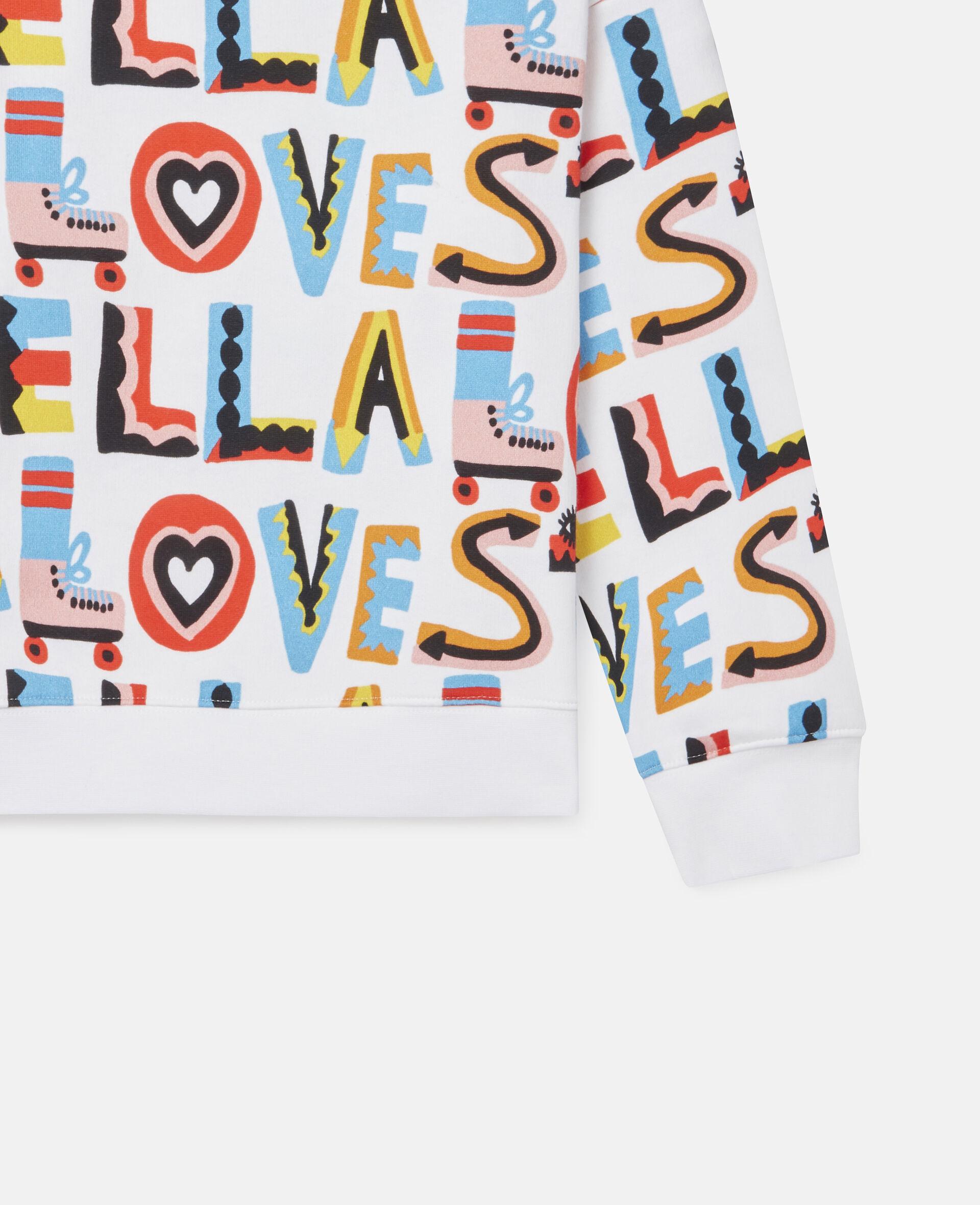 Übergroßes Sweatshirt aus Fleece mit Stella Loves-Print-Weiß-large image number 2