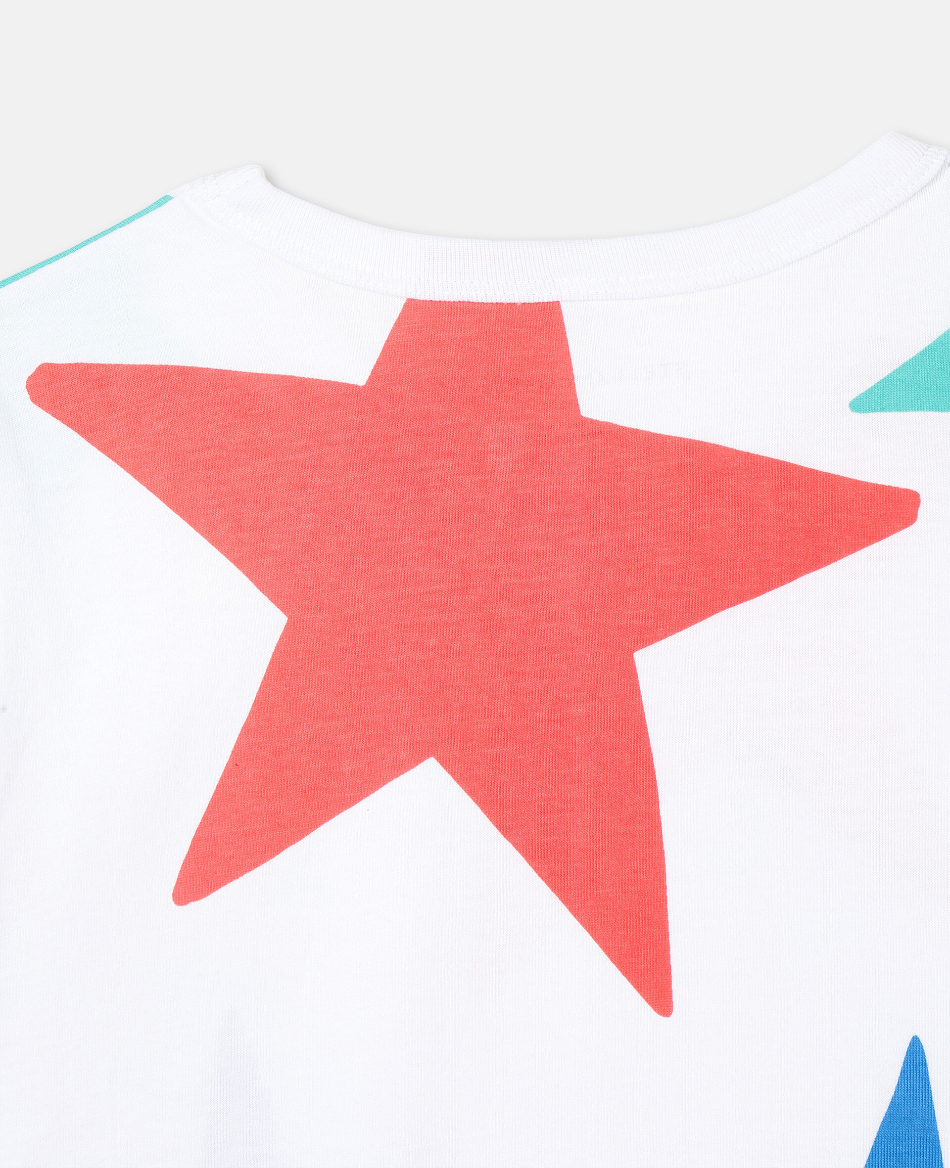 Multicolour Stars Cotton T-shirt-White-large image number 2