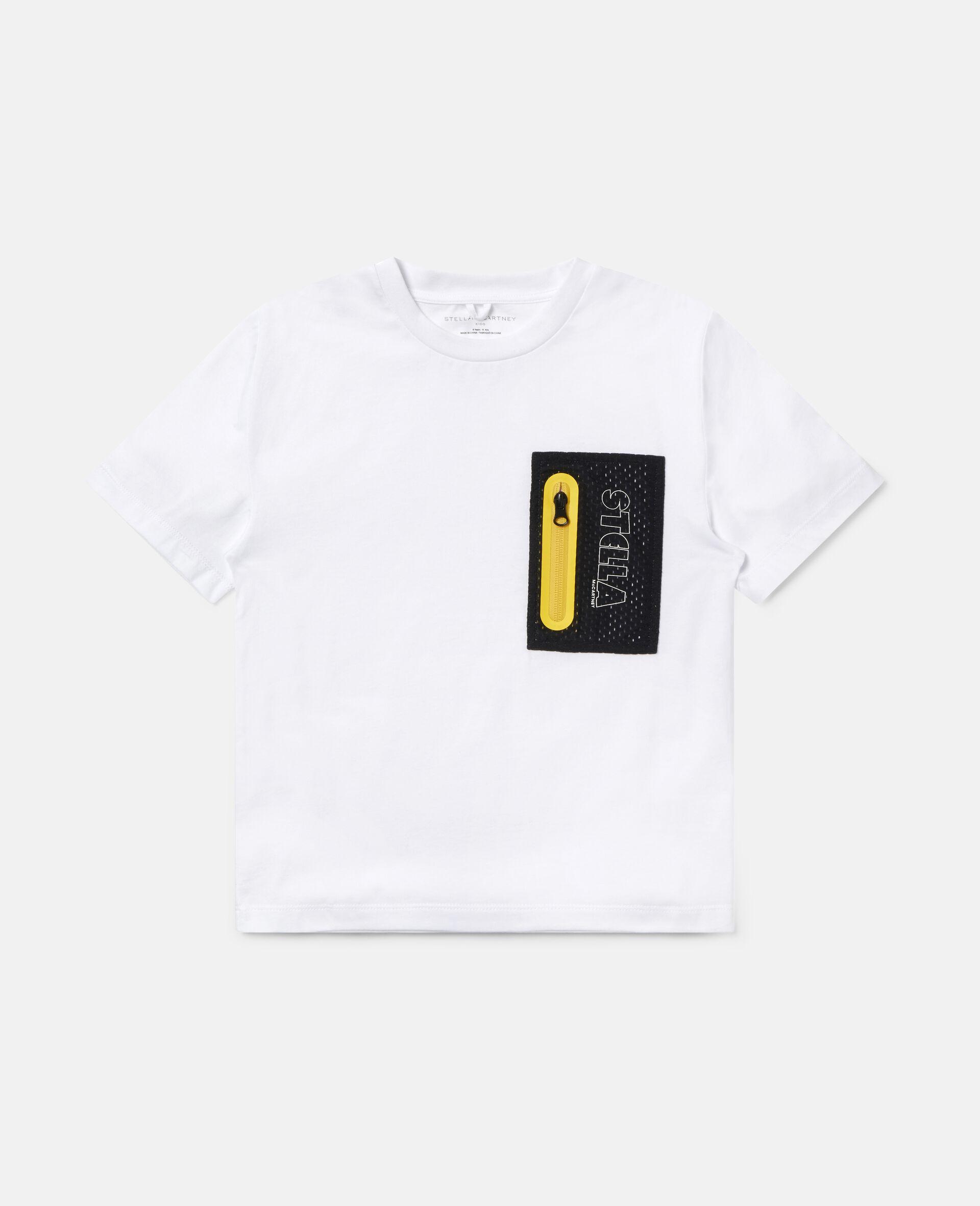 Übergroßes Sport-T-Shirt aus Baumwolle-Weiß-large image number 0