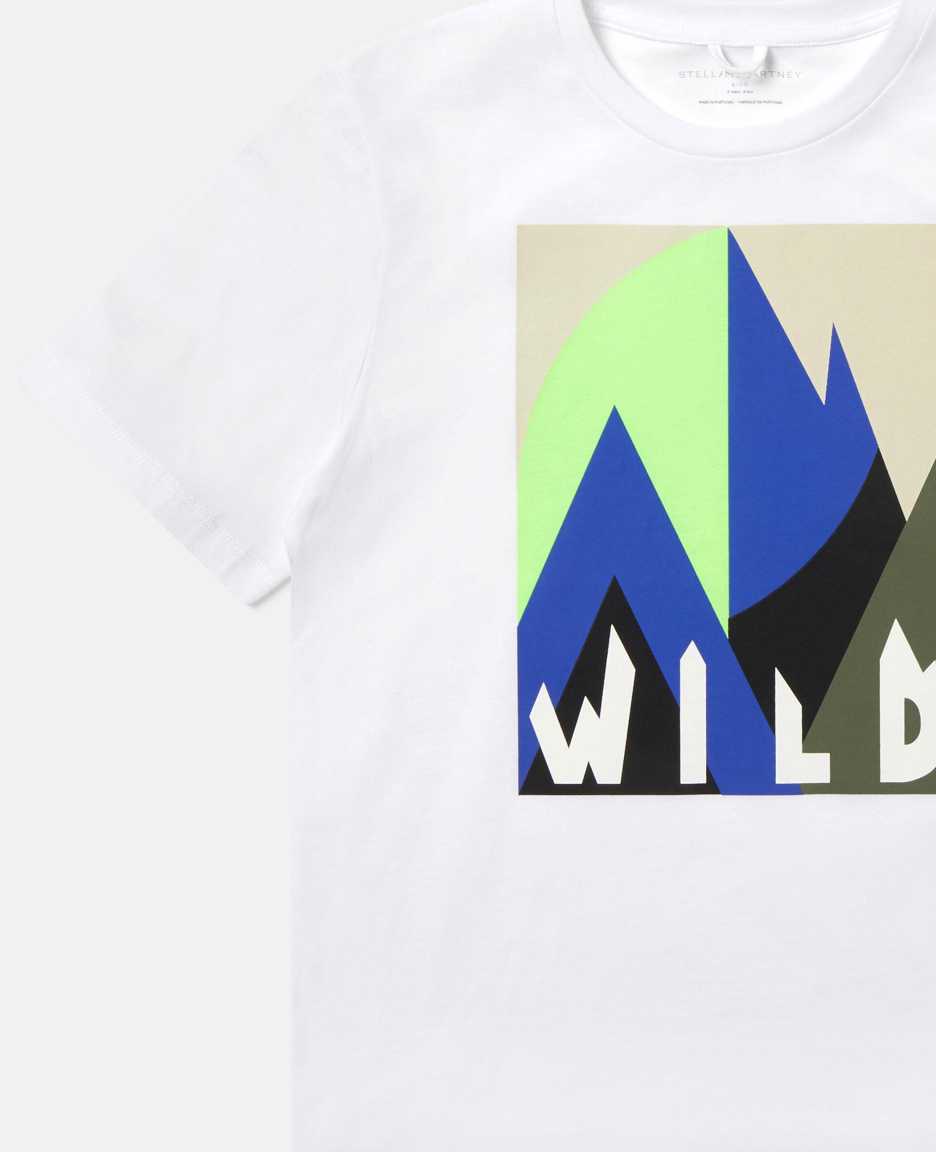 Übergroßes T-Shirt mit grafischem Bergmotiv-Weiß-large image number 2