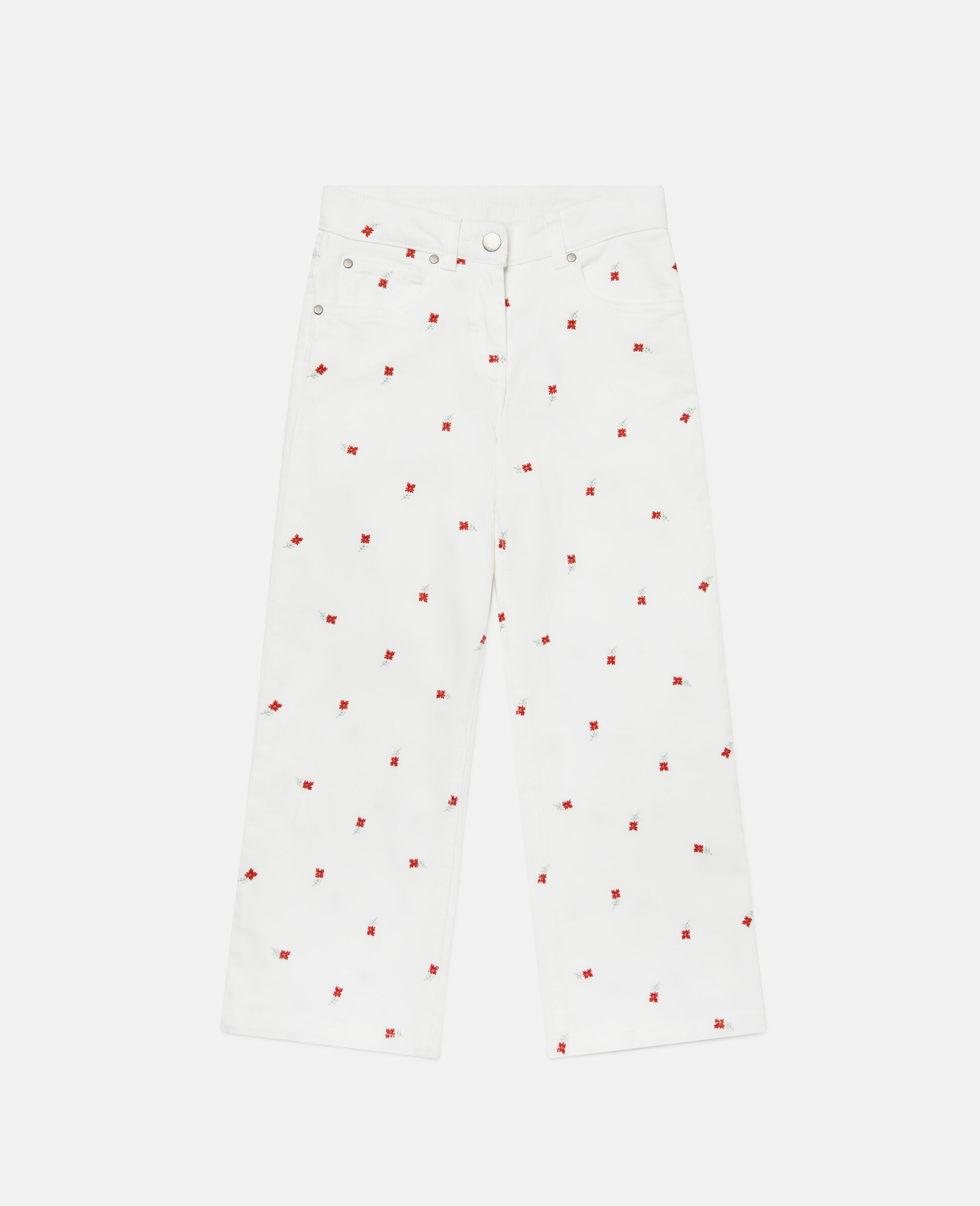 Embroidered Flowers Denim Trousers-White-large image number 0