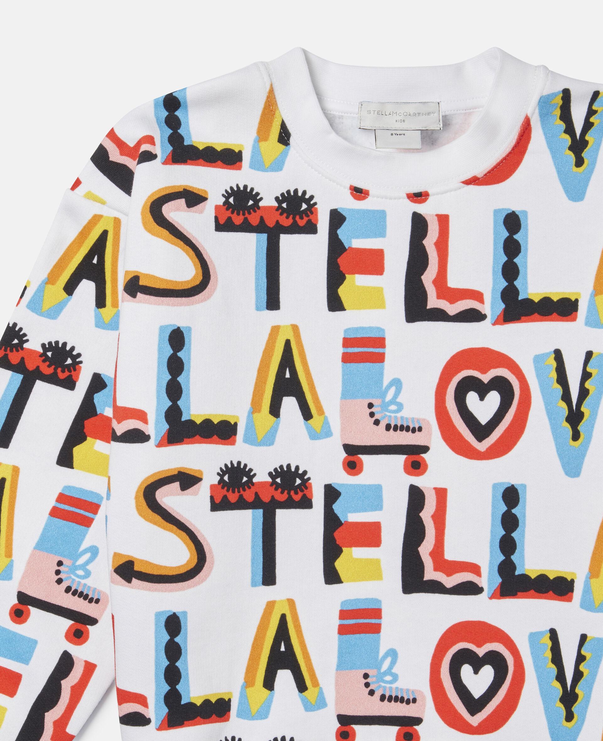 Übergroßes Sweatshirt aus Fleece mit Stella Loves-Print-Weiß-large image number 1